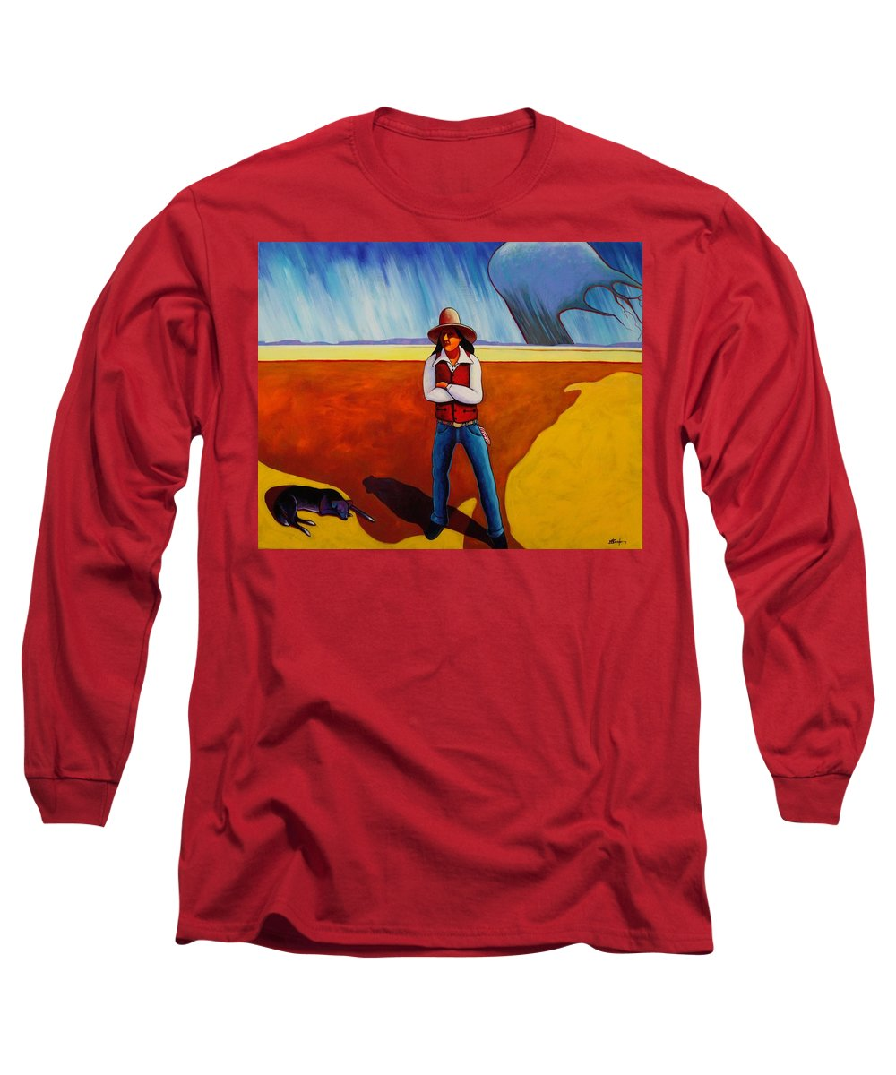 Native American Long Sleeve T-Shirt featuring the painting The Logic Of Solitude by Joe Triano