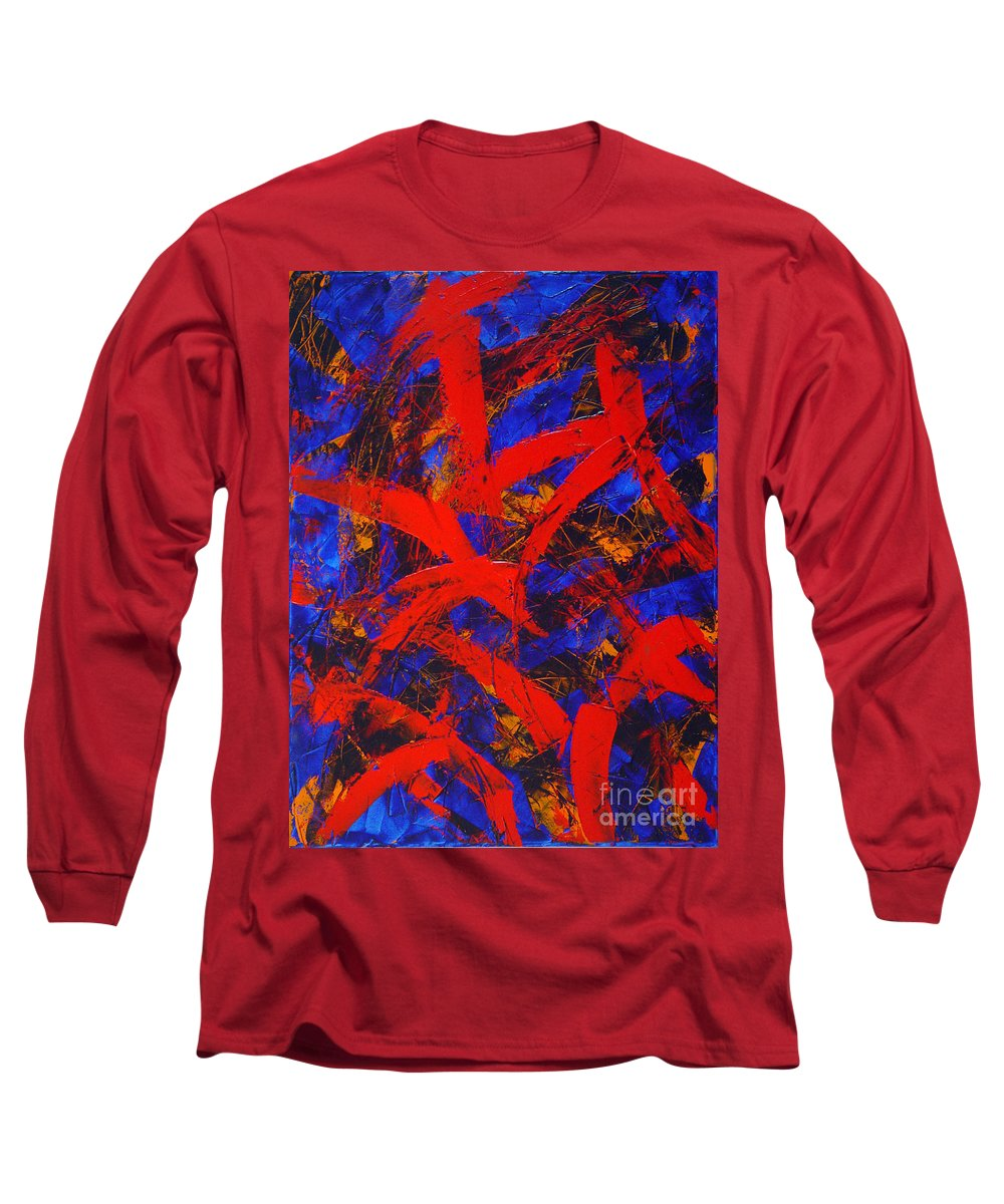 Abstract Long Sleeve T-Shirt featuring the painting Transitions With Blue And Red by Dean Triolo