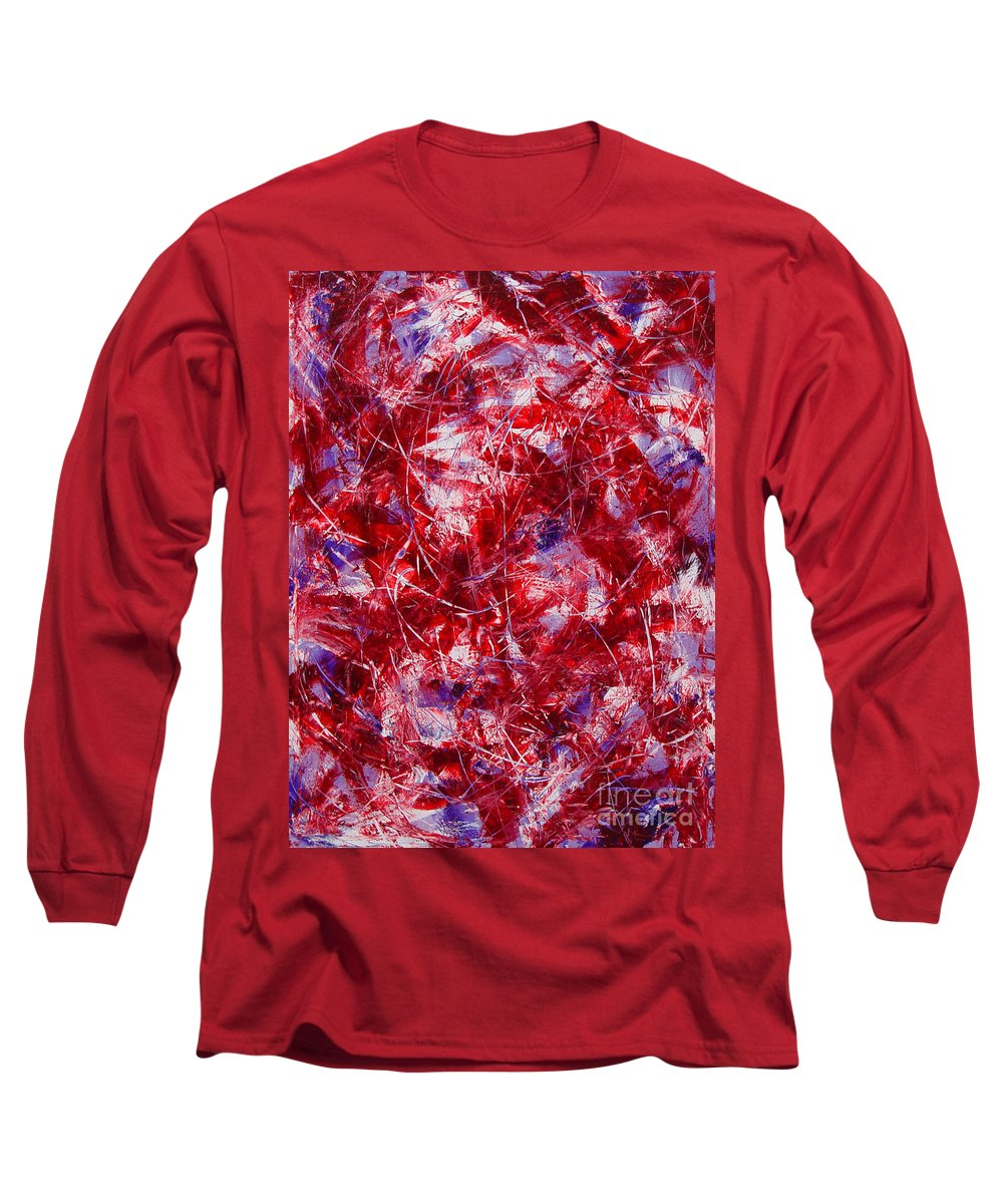 Abstract Long Sleeve T-Shirt featuring the painting Transitions With White Red And Violet by Dean Triolo