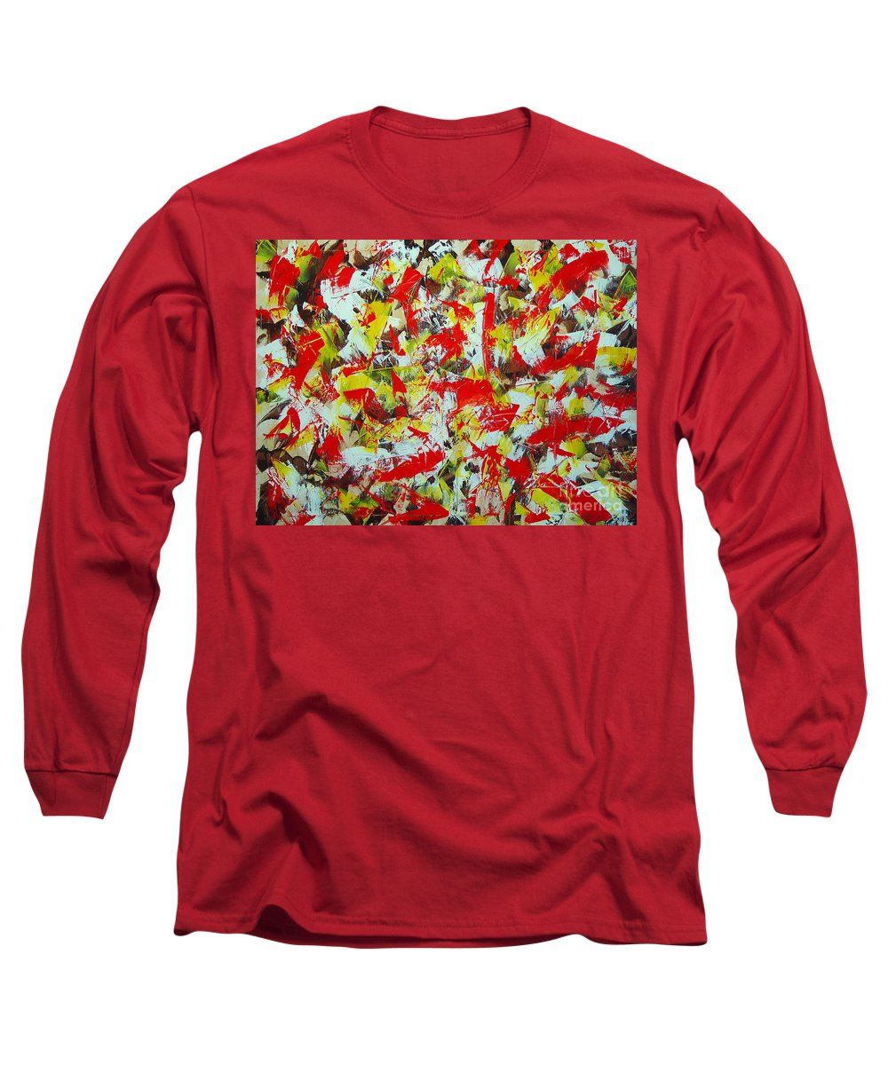 Abstract Long Sleeve T-Shirt featuring the painting Transitions With Yellow Brown And Red by Dean Triolo