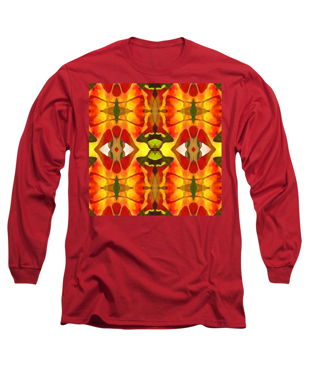 Abstract Long Sleeve T-Shirt featuring the painting Tropical Leaf Pattern 4 by Amy Vangsgard