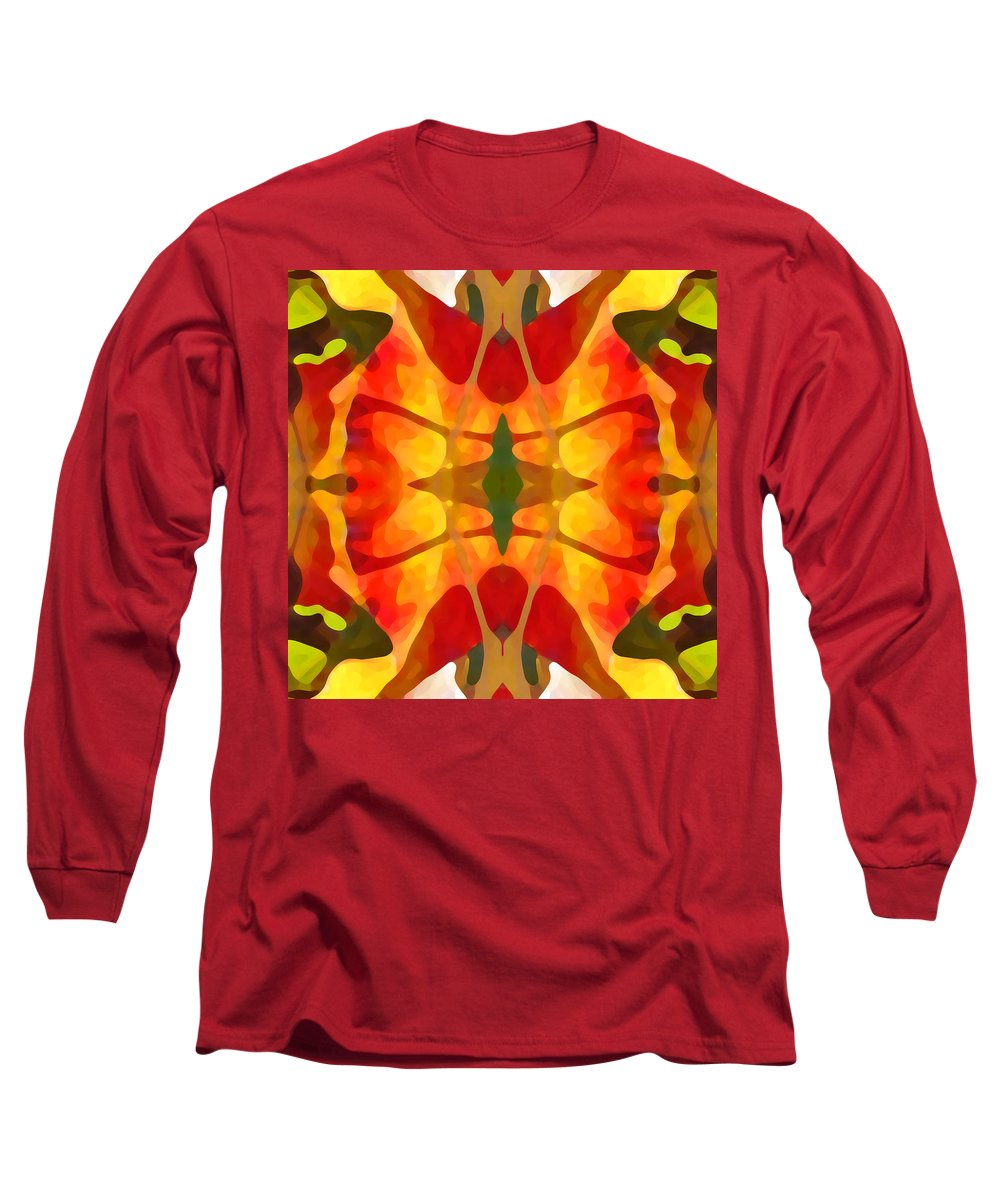 Abstract Long Sleeve T-Shirt featuring the painting Tropical Leaf Pattern5 by Amy Vangsgard