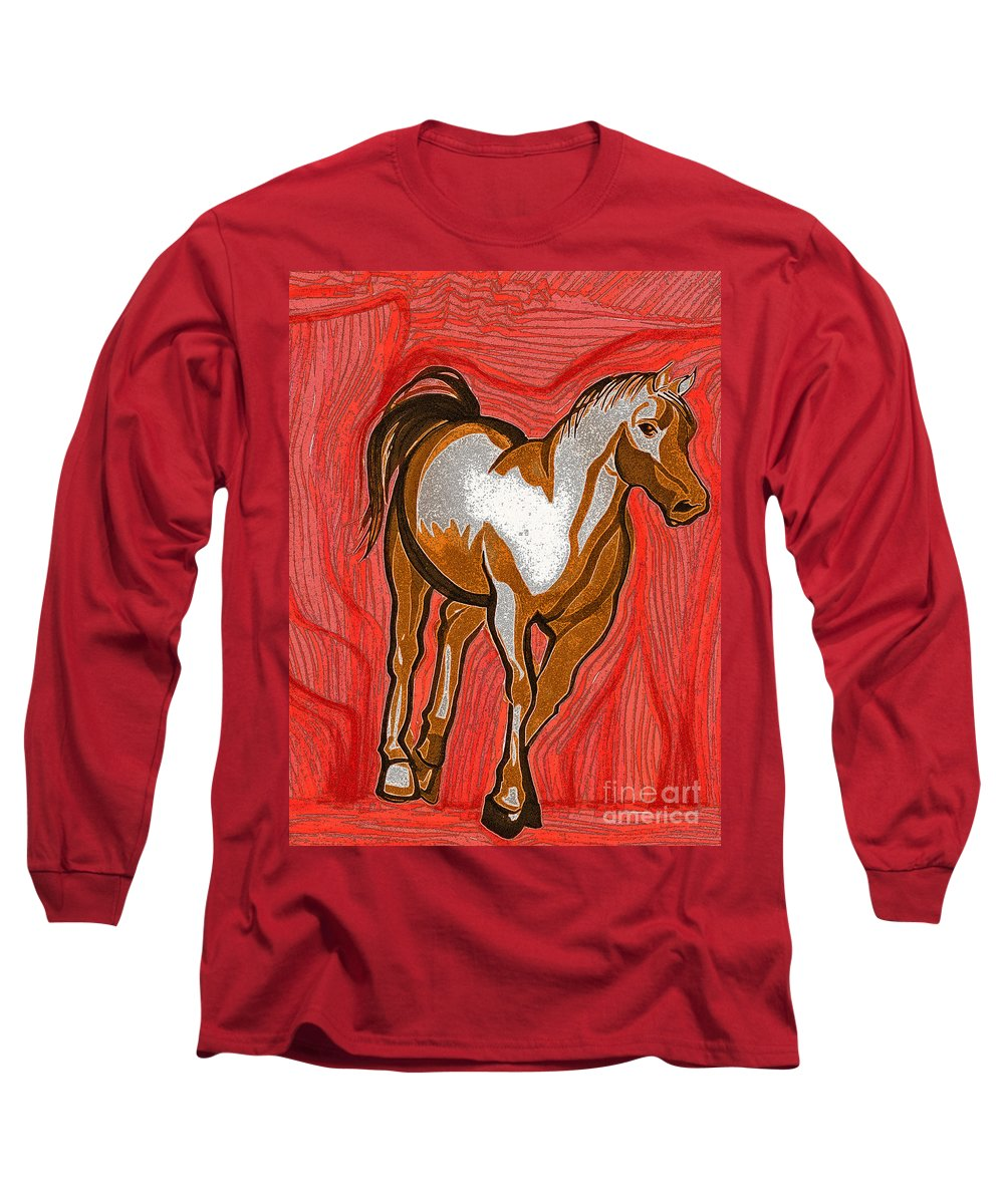 First Star Art Long Sleeve T-Shirt featuring the drawing Year Of The Horse By Jrr by First Star Art