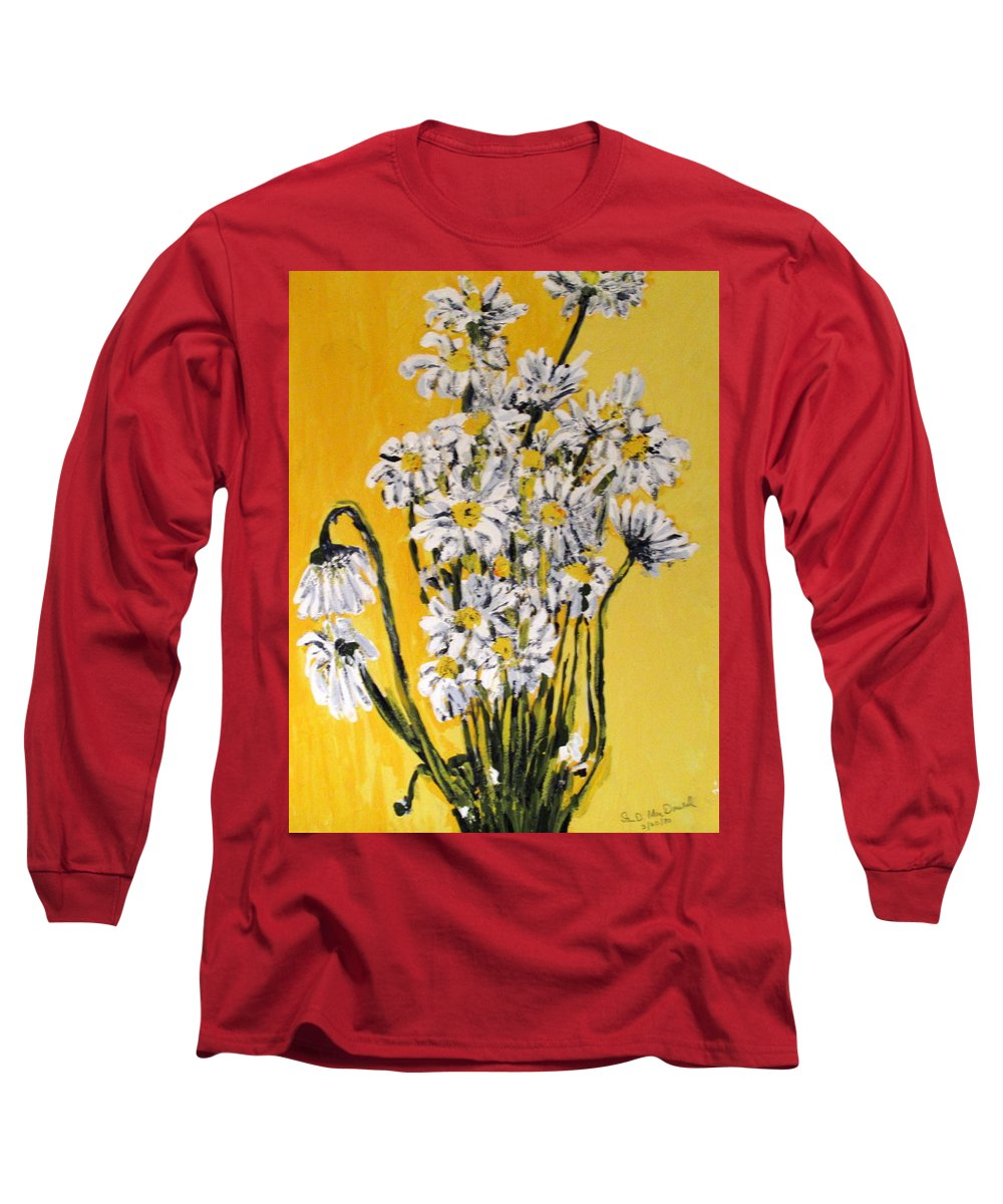 Daisy Long Sleeve T-Shirt featuring the painting Yellow by Ian MacDonald