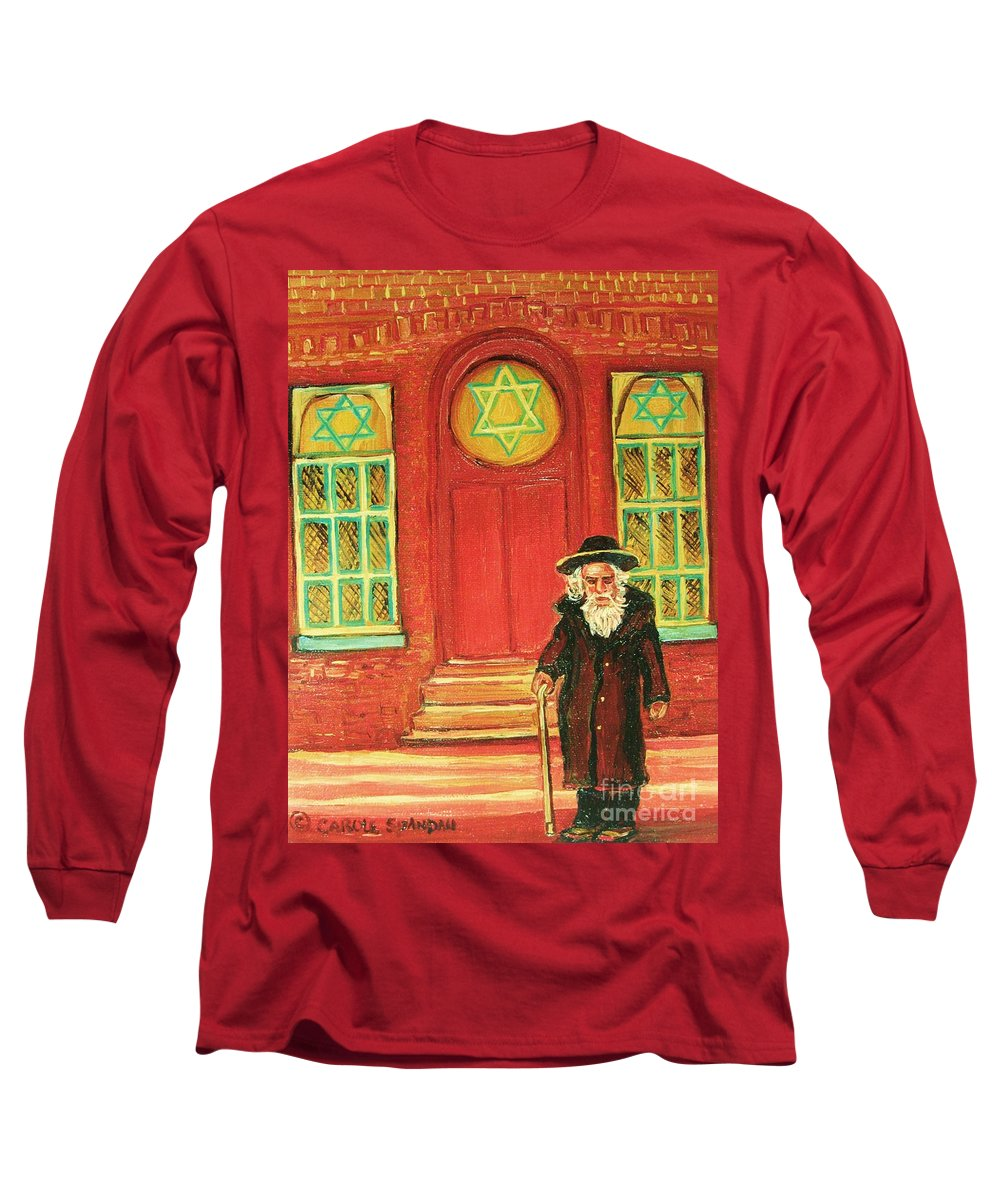 Synagogues Long Sleeve T-Shirt featuring the painting Zaida's Shul by Carole Spandau
