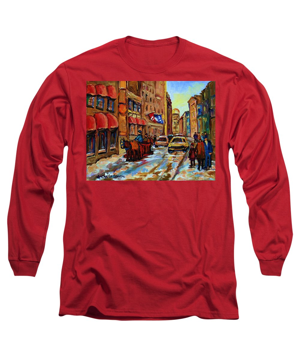Horses Long Sleeve T-Shirt featuring the painting The Red Sled by Carole Spandau