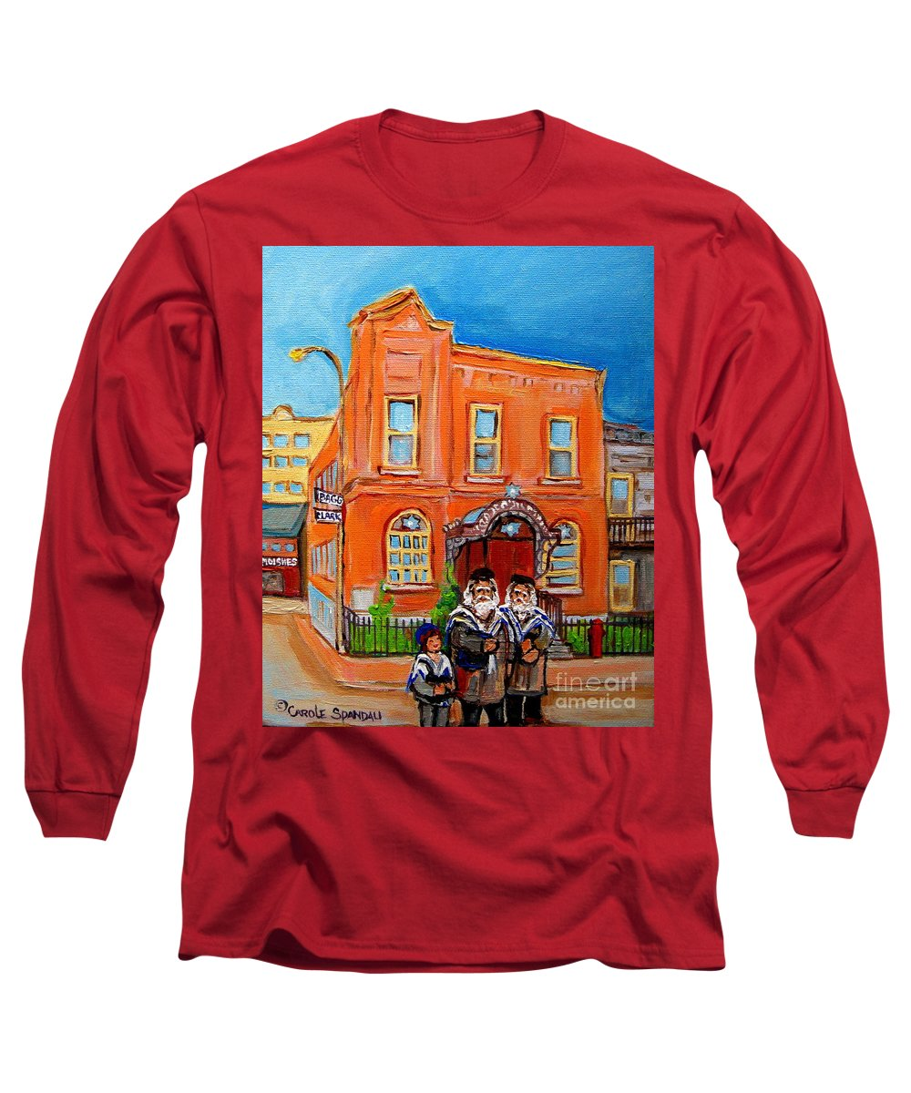 Beautiful Synagogue On Bagg Street Long Sleeve T-Shirt featuring the painting Beautiful Synagogue On Bagg Street by Carole Spandau