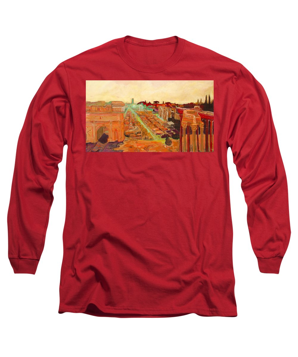 Rome Long Sleeve T-Shirt featuring the painting Foro Romano by Kurt Hausmann