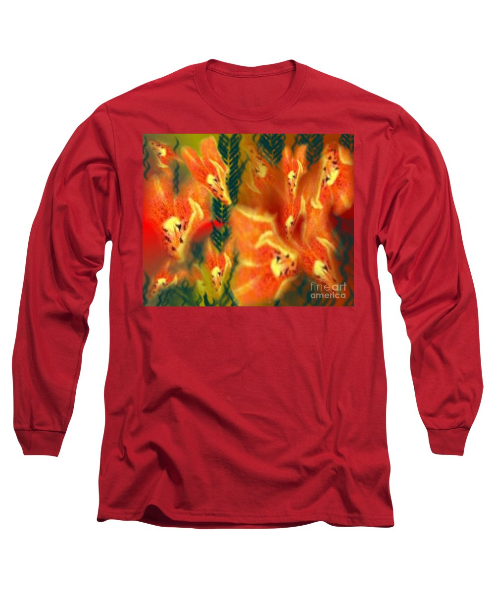 Florals Long Sleeve T-Shirt featuring the digital art Symphonic Dance by Brenda L Spencer