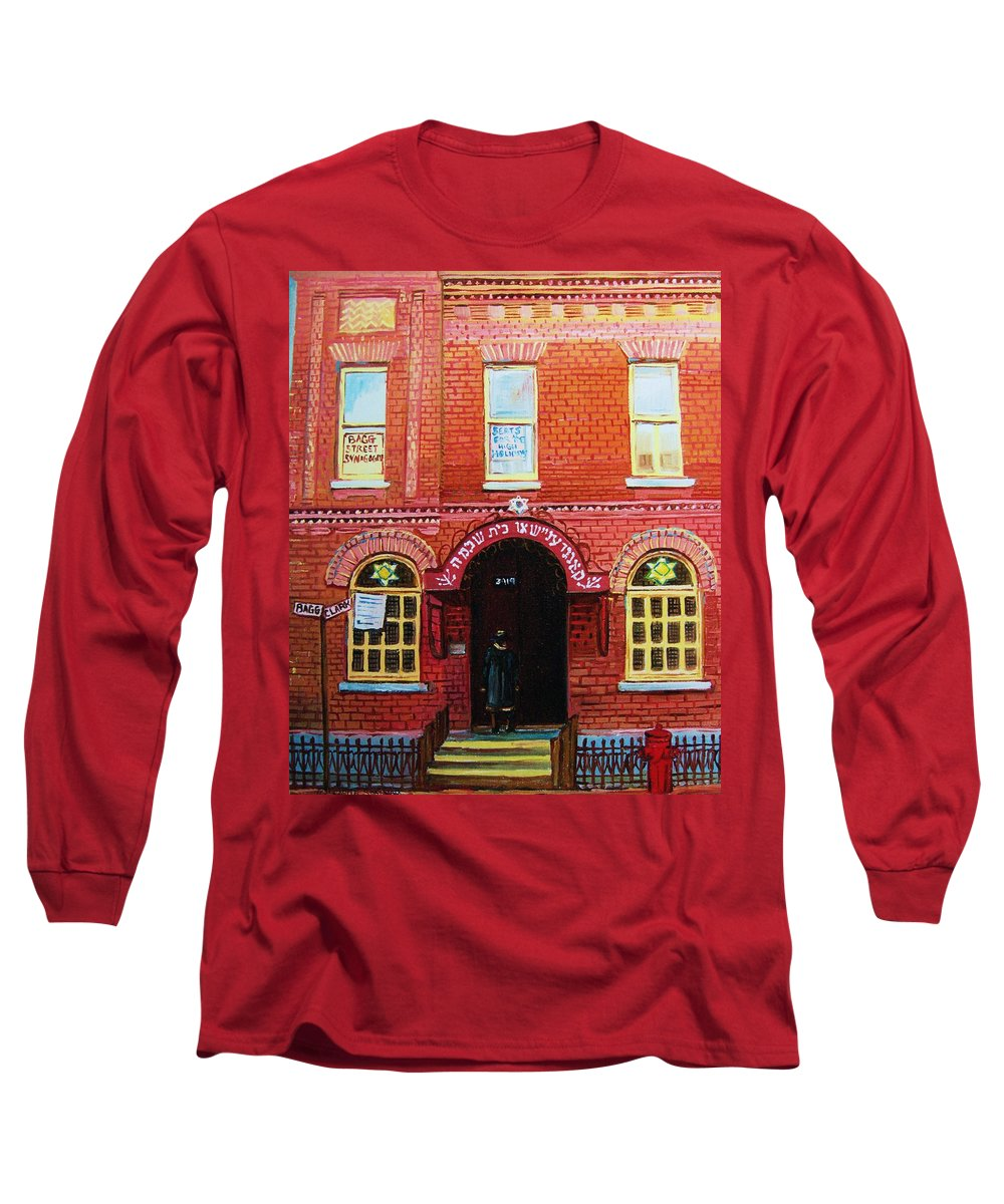 Synagogues Long Sleeve T-Shirt featuring the painting Temple Solomon Congregation by Carole Spandau