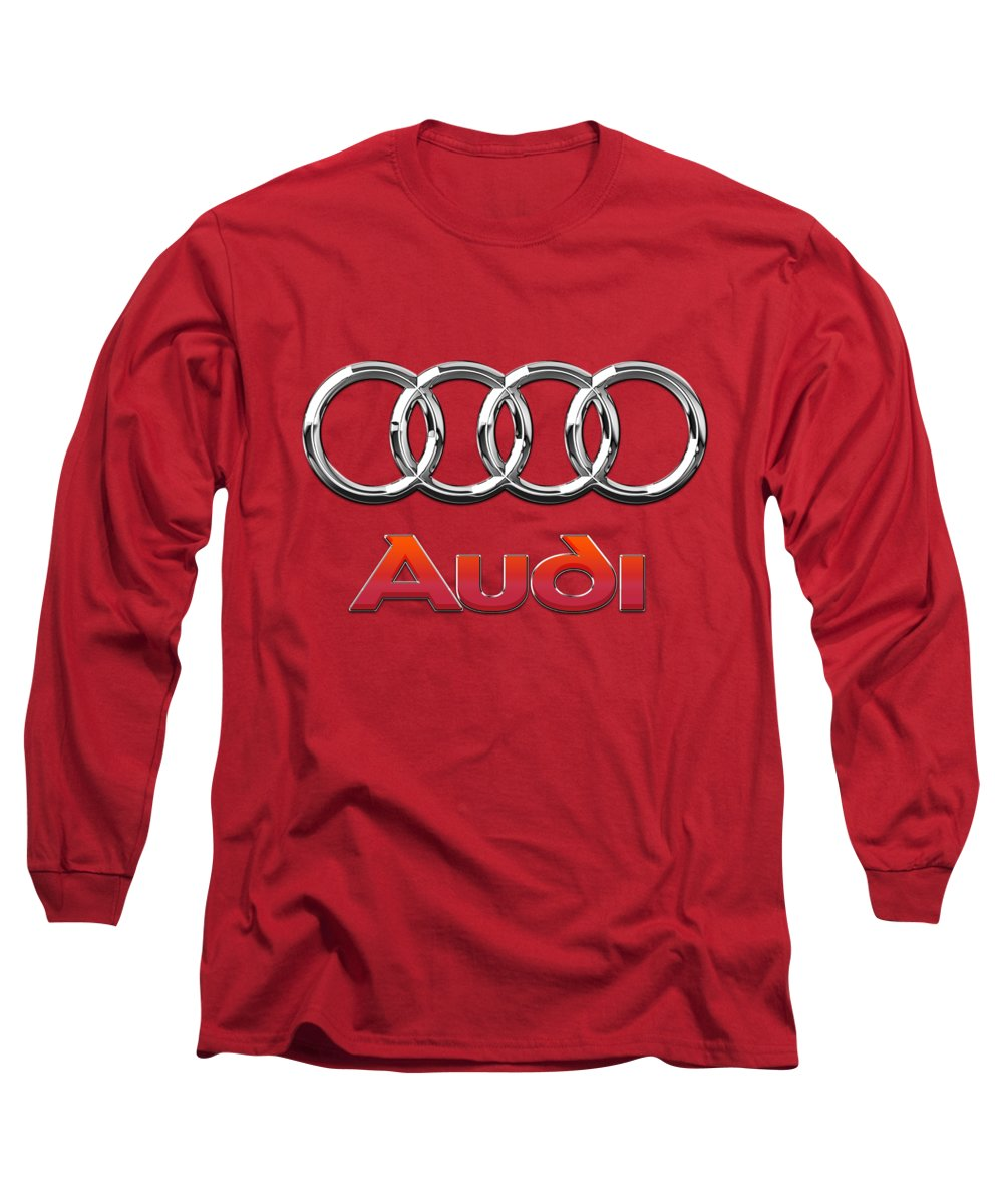 Wheels Of Fortune By Serge Averbukh Long Sleeve T-Shirt featuring the photograph Audi - 3d Badge On Red by Serge Averbukh