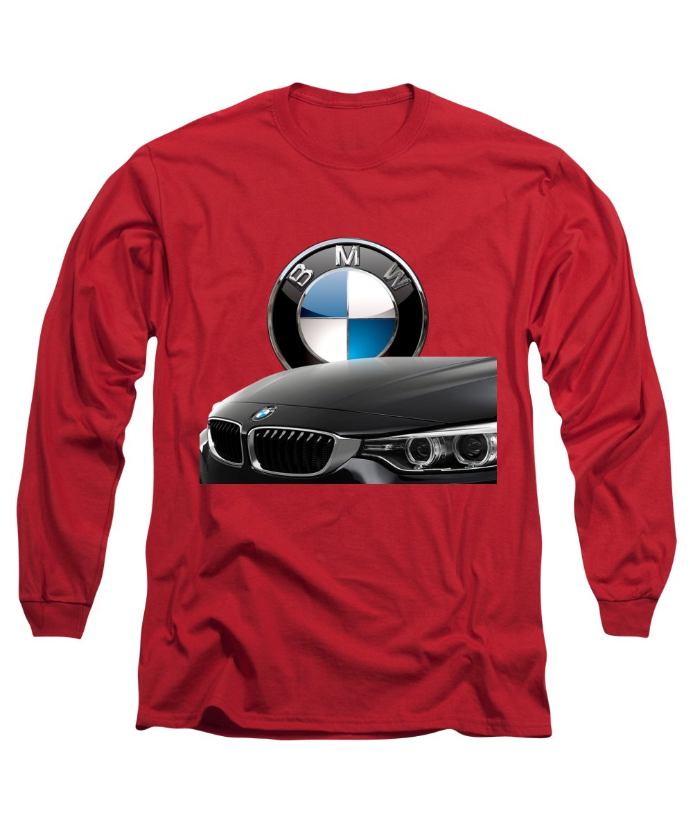 �auto Badges� Collection By Serge Averbukh Long Sleeve T-Shirt featuring the photograph Black B M W - Front Grill Ornament And 3 D Badge On Red by Serge Averbukh