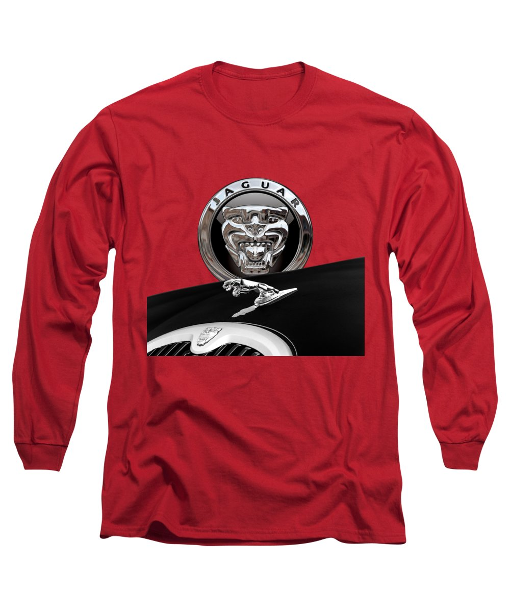 'auto Badges' Collection By Serge Averbukh Long Sleeve T-Shirt featuring the photograph Black Jaguar - Hood Ornaments and 3 D Badge on Red by Serge Averbukh