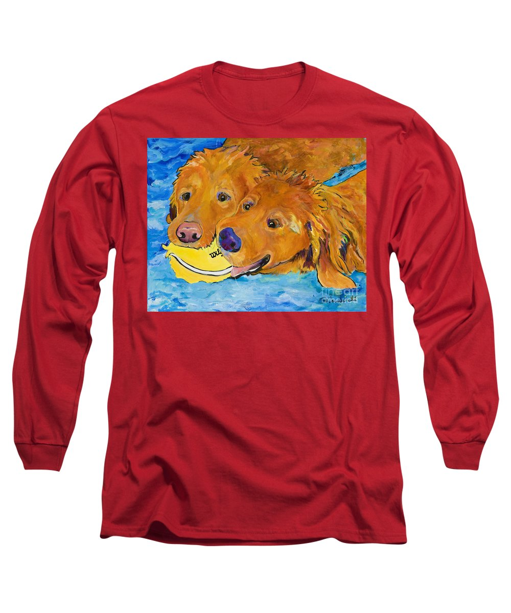Golden Retriever Long Sleeve T-Shirt featuring the painting Double Your Pleasure by Pat Saunders-White