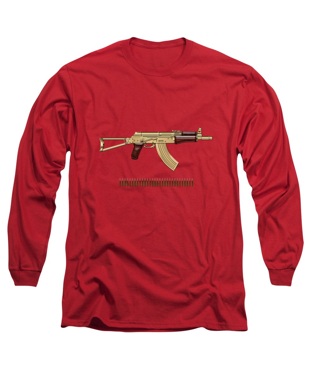 'the Armory' Collection By Serge Averbukh Long Sleeve T-Shirt featuring the photograph Gold A K S-74 U Assault Rifle With 5.45x39 Rounds Over Red Velvet  by Serge Averbukh