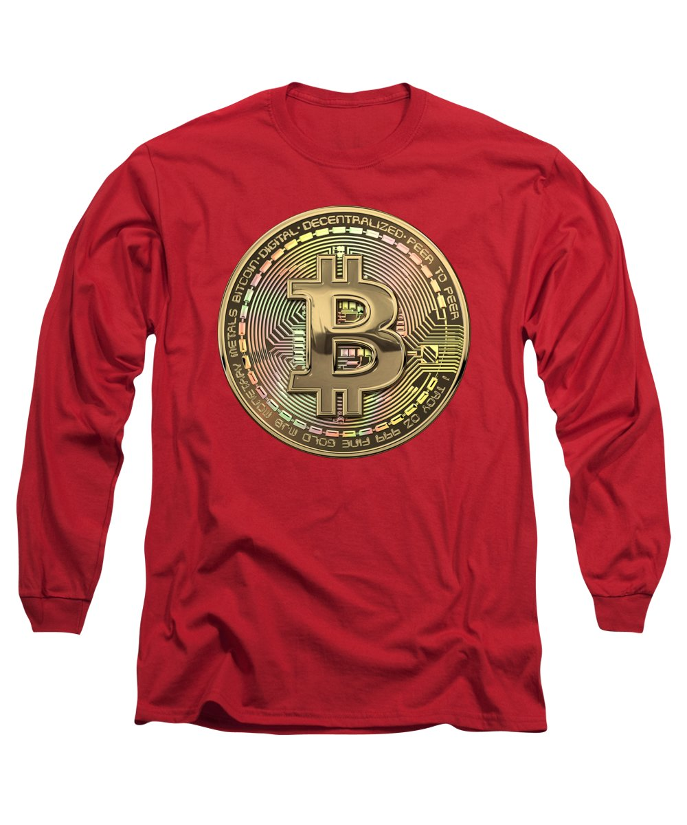 'money' Collection By Serge Averbukh Long Sleeve T-Shirt featuring the photograph Gold Bitcoin Effigy Over Red Canvas by Serge Averbukh