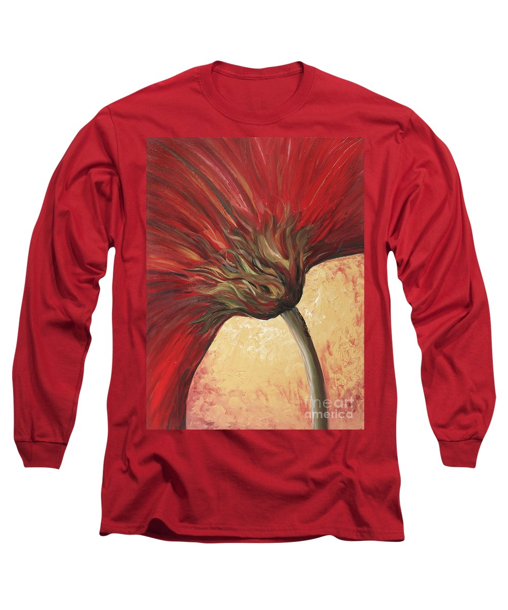 Floral Long Sleeve T-Shirt featuring the painting Power Of Red by Nadine Rippelmeyer