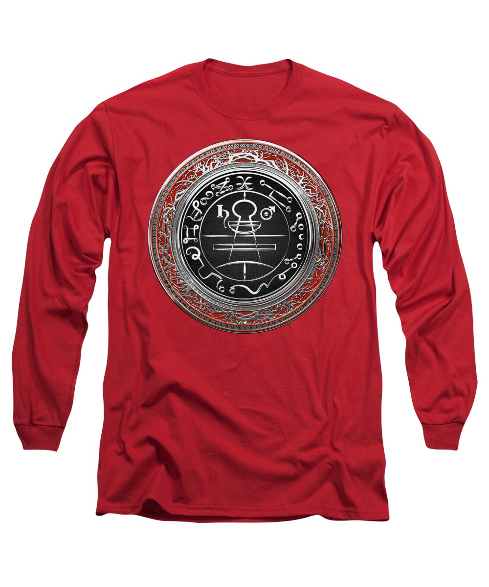 'sacred Symbols' Collection By Serge Averbukh Long Sleeve T-Shirt featuring the photograph Silver Seal Of Solomon - Lesser Key Of Solomon On Red Velvet by Serge Averbukh