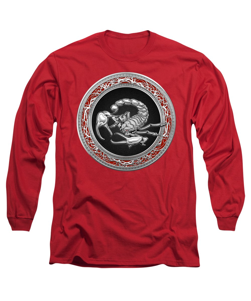 �treasure Trove � By Serge Averbukh Long Sleeve T-Shirt featuring the photograph Treasure Trove - Sacred Silver Scorpion On Red by Serge Averbukh