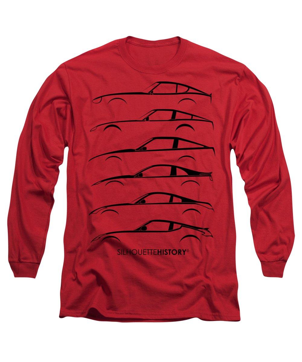 Sports Car Long Sleeve T-Shirt featuring the digital art Zee Car Silhouettehistory by Gabor Vida