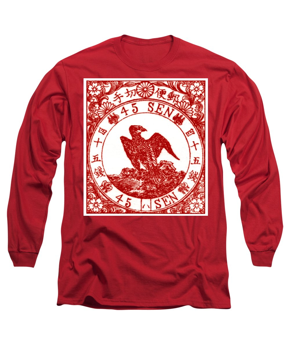 Japan Long Sleeve T-Shirt featuring the painting 1875 Japanese Goshawk Stamp by Historic Image
