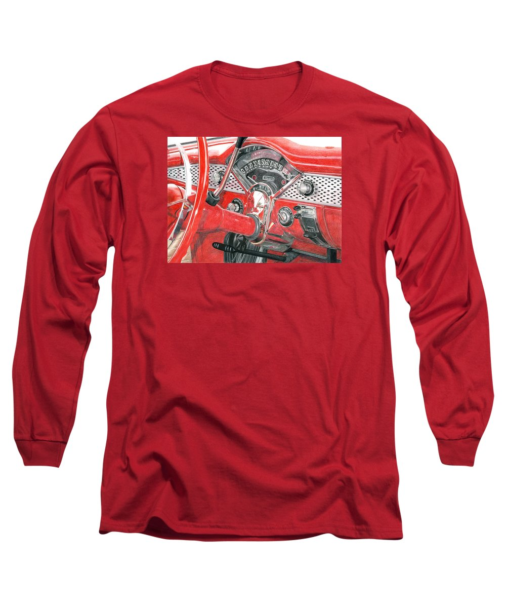 Classic Long Sleeve T-Shirt featuring the drawing 1955 Chevrolet Bel Air by Rob De Vries