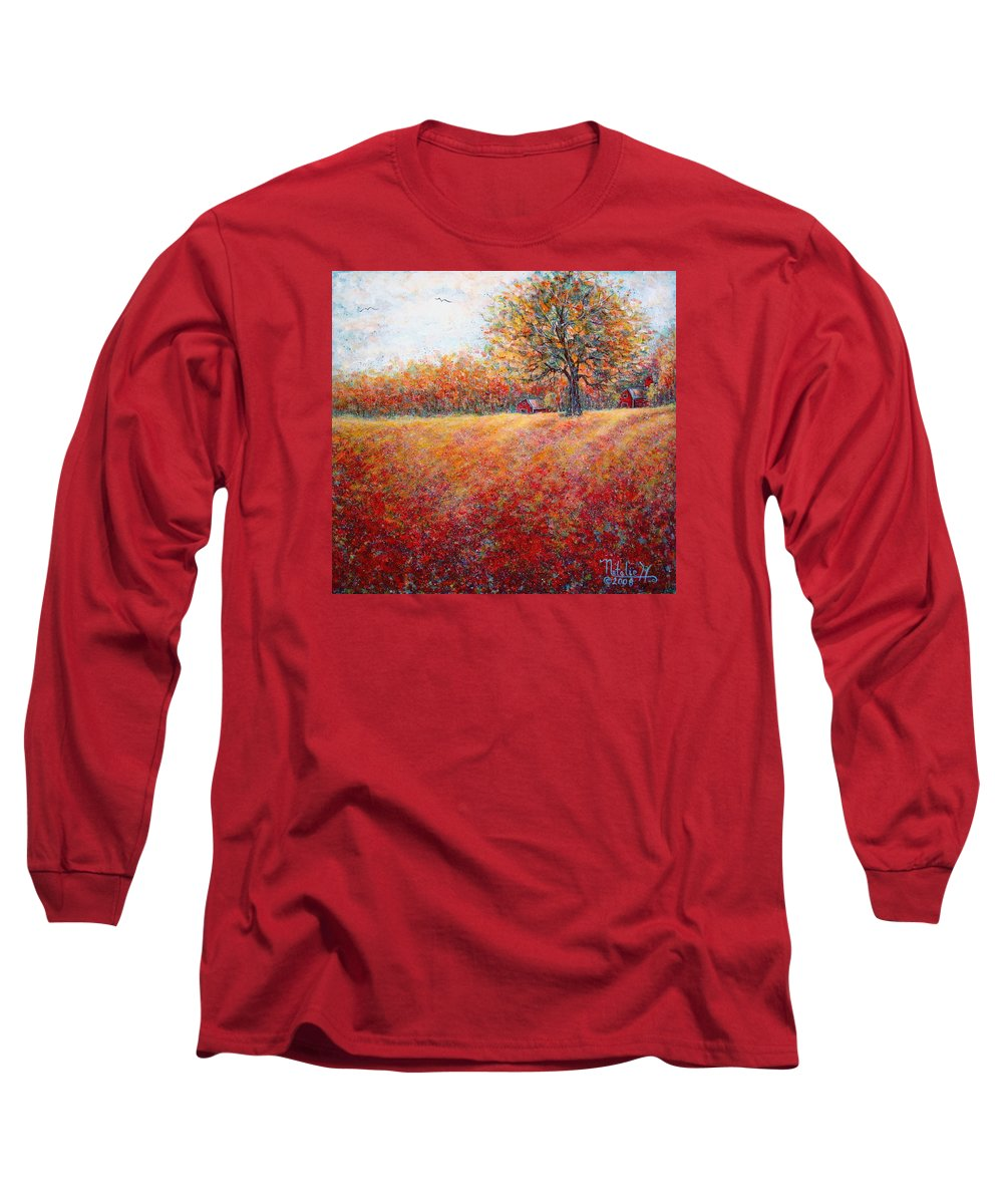 Autumn Landscape Long Sleeve T-Shirt featuring the painting A Beautiful Autumn Day by Natalie Holland
