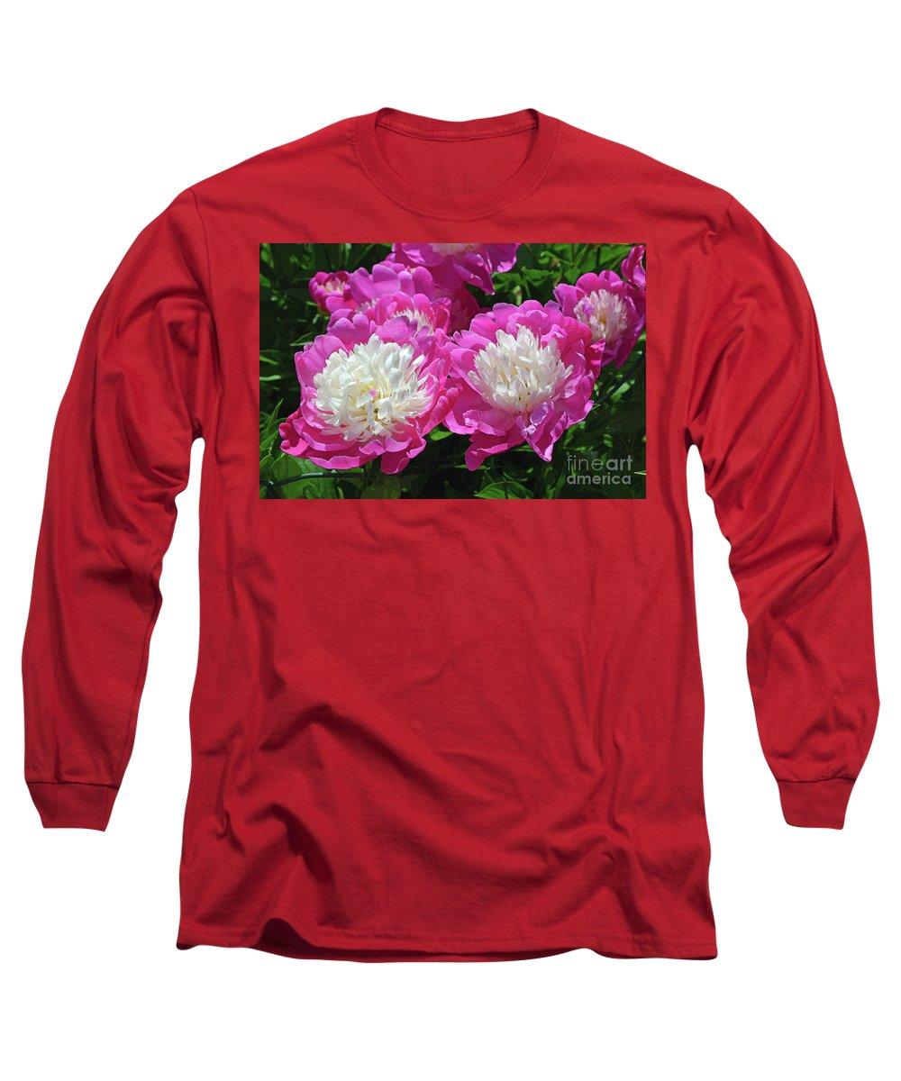 Pink Long Sleeve T-Shirt featuring the digital art A Bouquet Of Peonies by Eva Kaufman