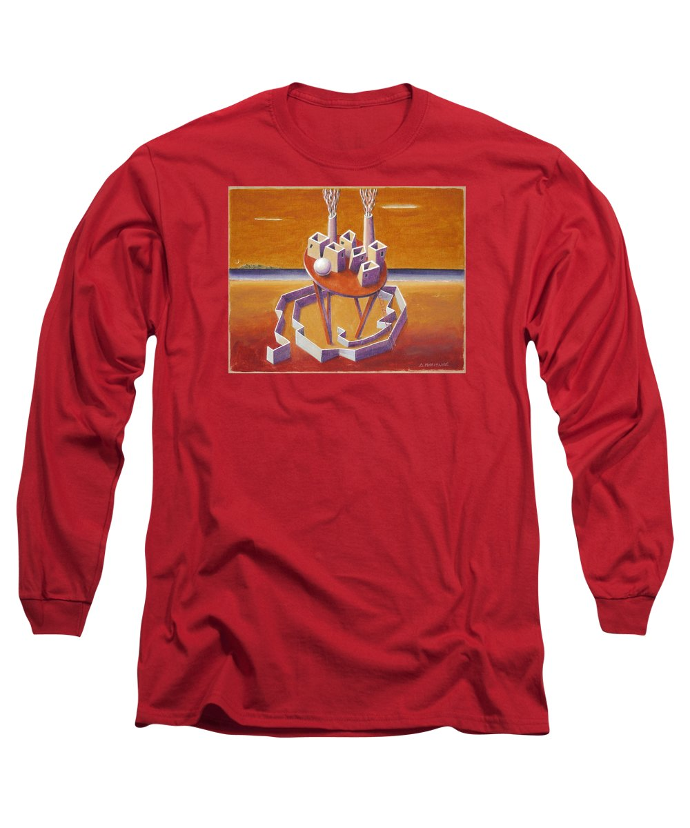 Metaphysical Symbolic Sureal Surrealist Greece Greek Landscape Factory Architecture Seascape Ball Long Sleeve T-Shirt featuring the painting A Peasents Dream by Dimitris Milionis