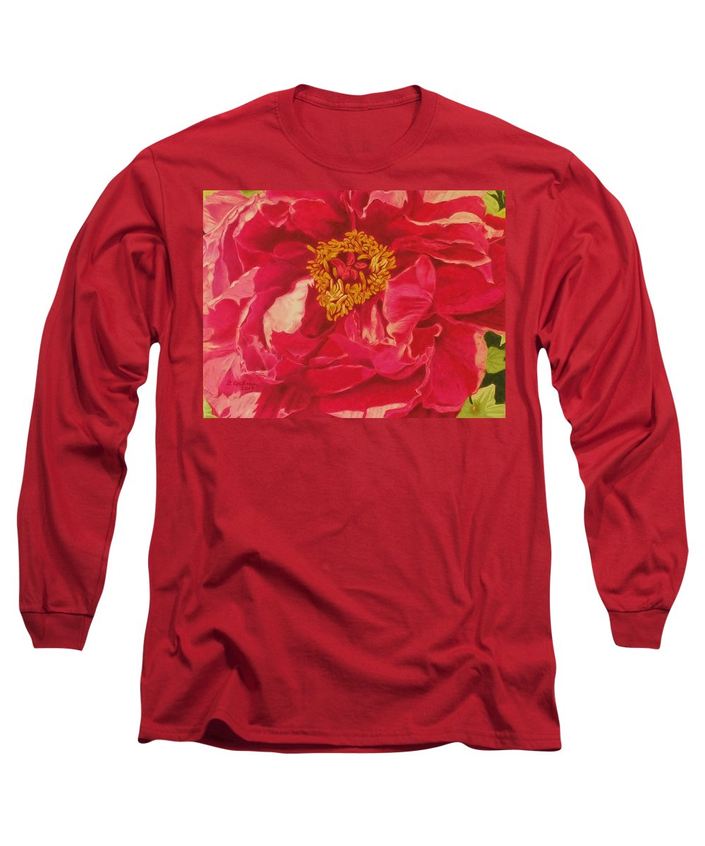 Flower Long Sleeve T-Shirt featuring the drawing A Peony For Your Thoughts by David Cochran