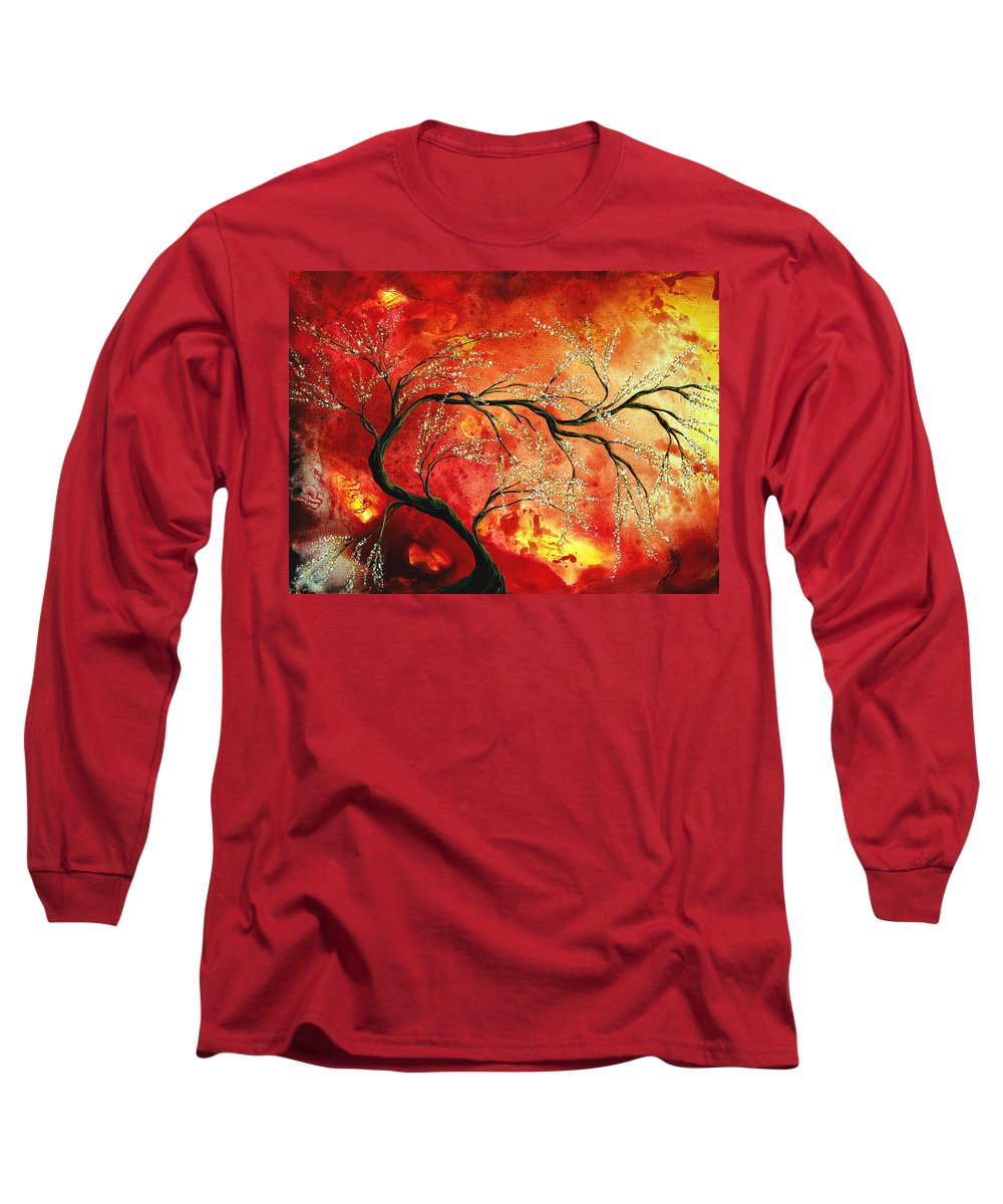 Abstract Long Sleeve T-Shirt featuring the painting Abstract Art Floral Tree Landscape Painting Fresh Blossoms By Madart by Megan Duncanson
