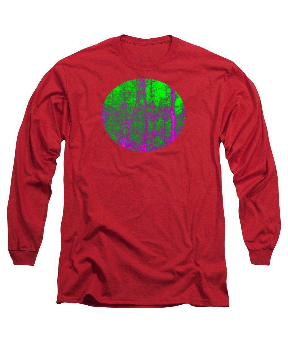 Acid Long Sleeve T-Shirt featuring the digital art Acid Forest by Alan Hogan