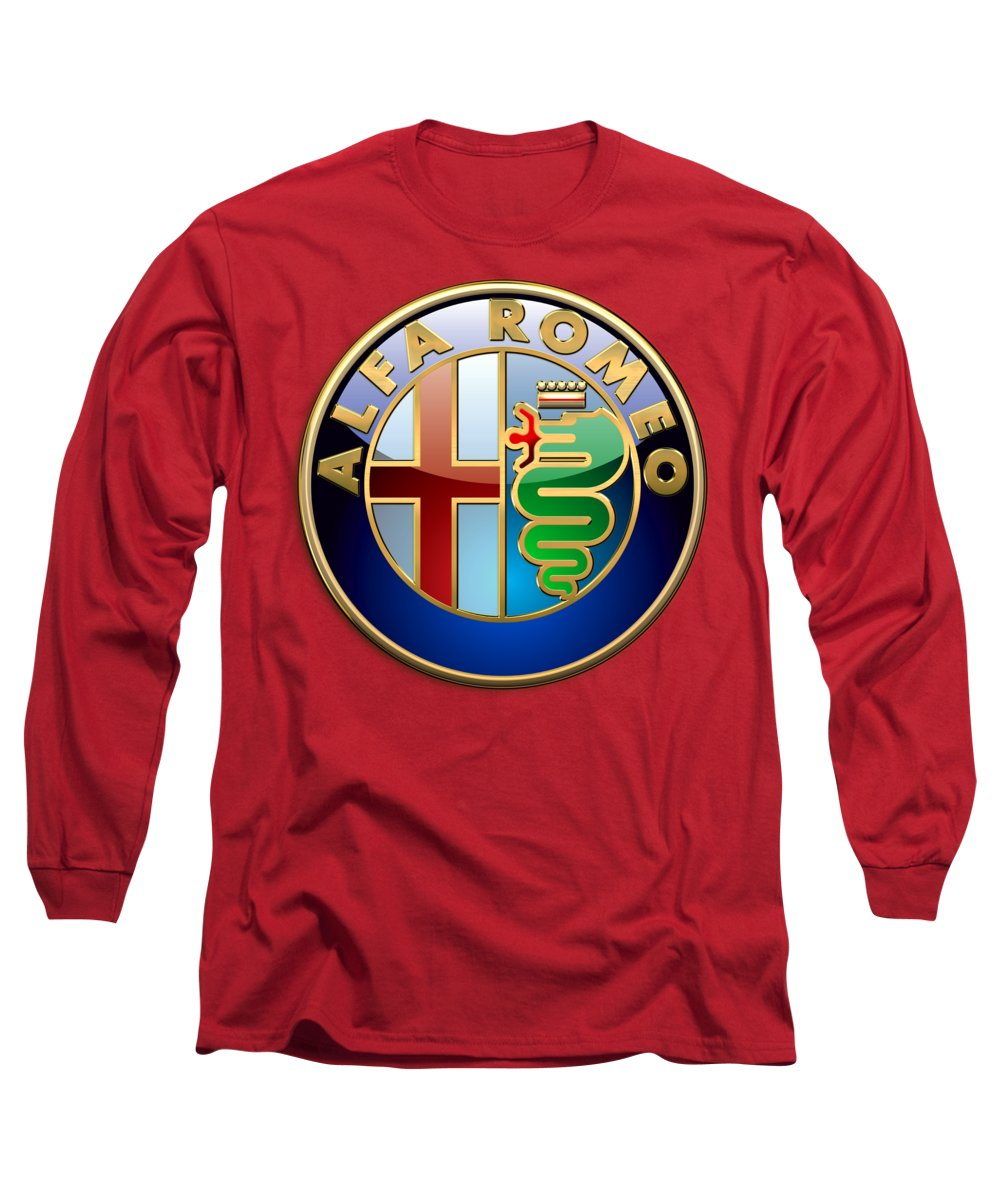 Wheels Of Fortune By Serge Averbukh Long Sleeve T-Shirt featuring the photograph Alfa Romeo - 3d Badge On Red by Serge Averbukh