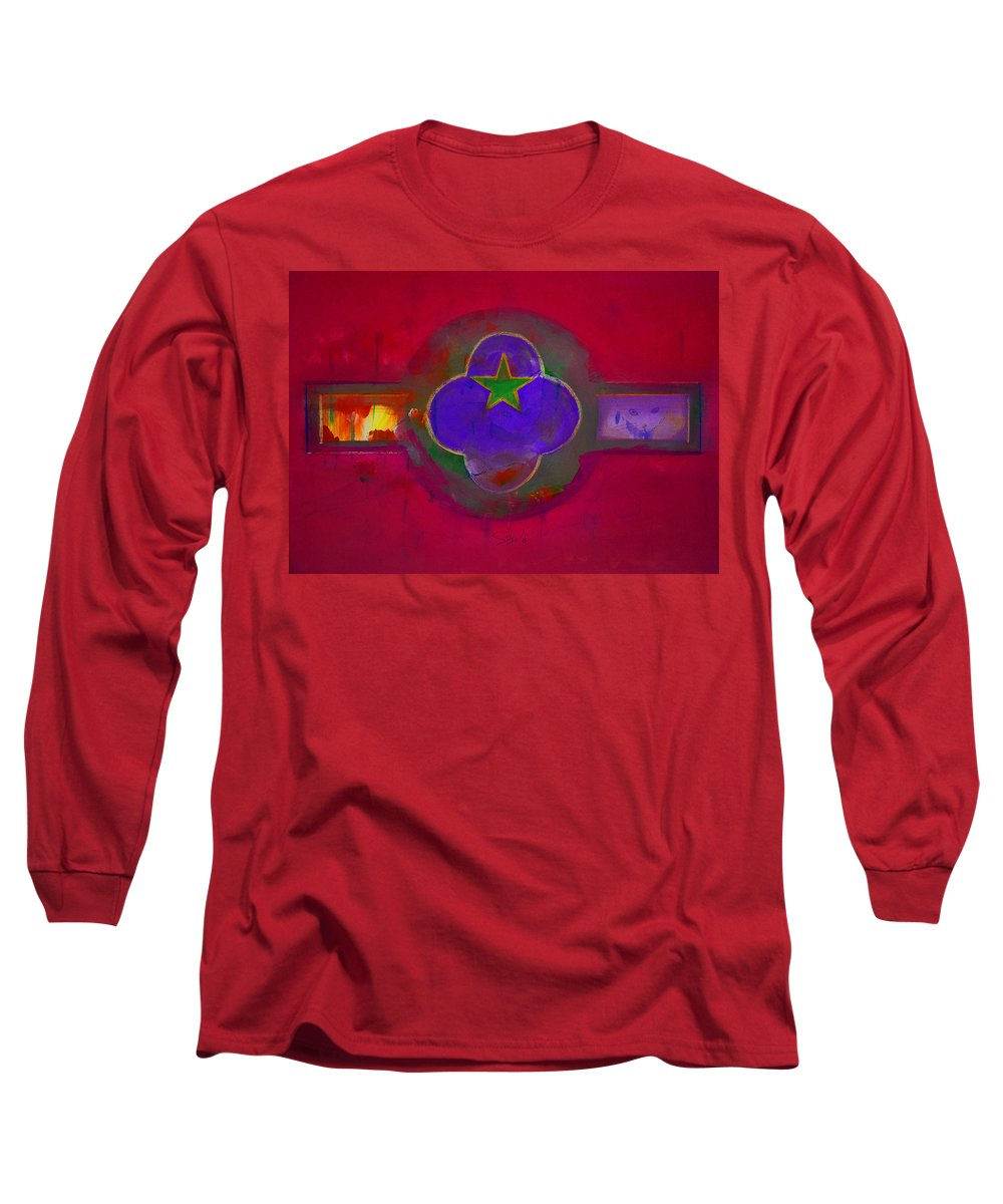 Star Long Sleeve T-Shirt featuring the painting American Cats And Flowers by Charles Stuart
