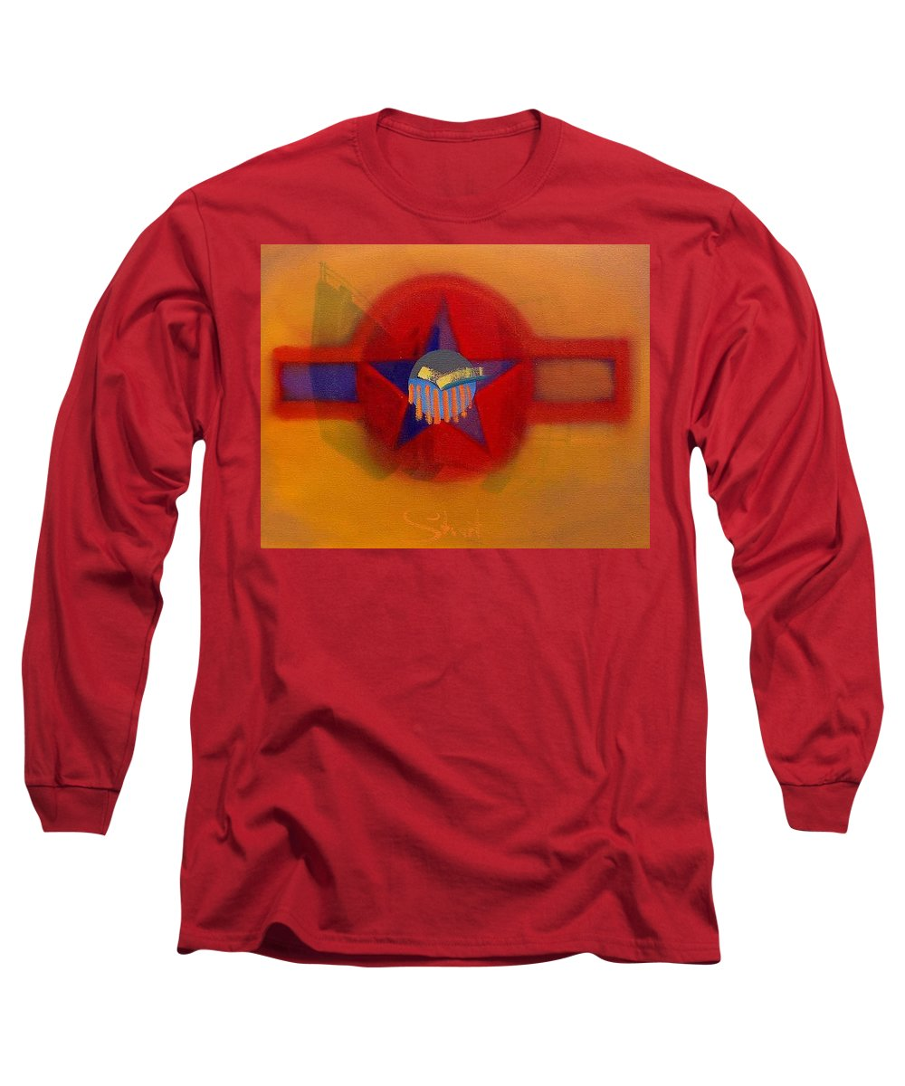 Usaaf Insignia And Idealised Landscape In Union Long Sleeve T-Shirt featuring the painting American Sub Decal by Charles Stuart