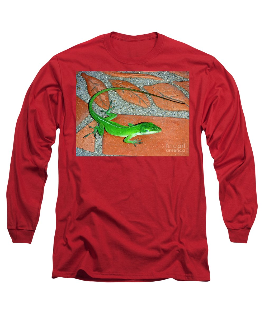 Nature Long Sleeve T-Shirt featuring the photograph Anole On Chair Tiles by Lucyna A M Green