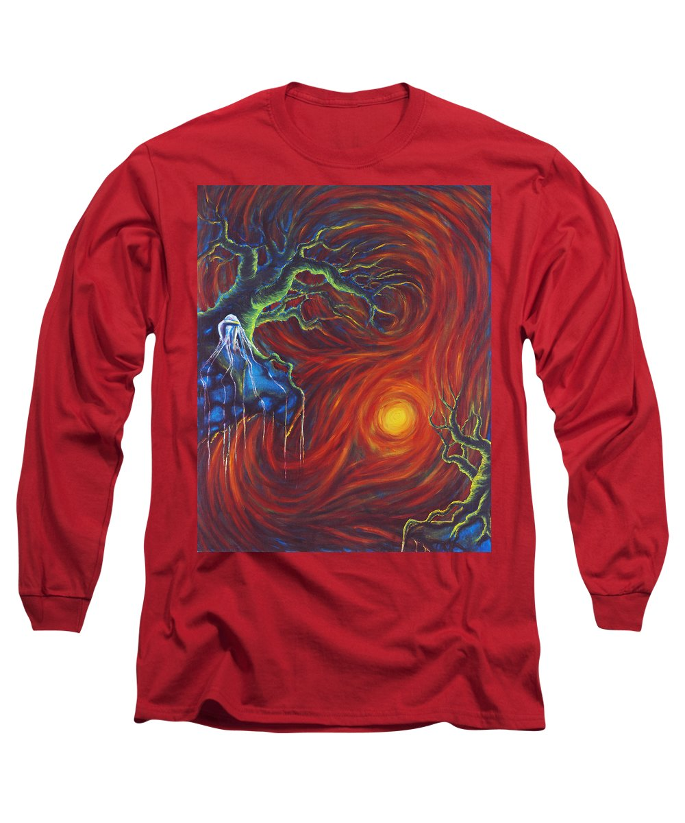 Tree Paintings Long Sleeve T-Shirt featuring the painting Anxiety by Jennifer McDuffie