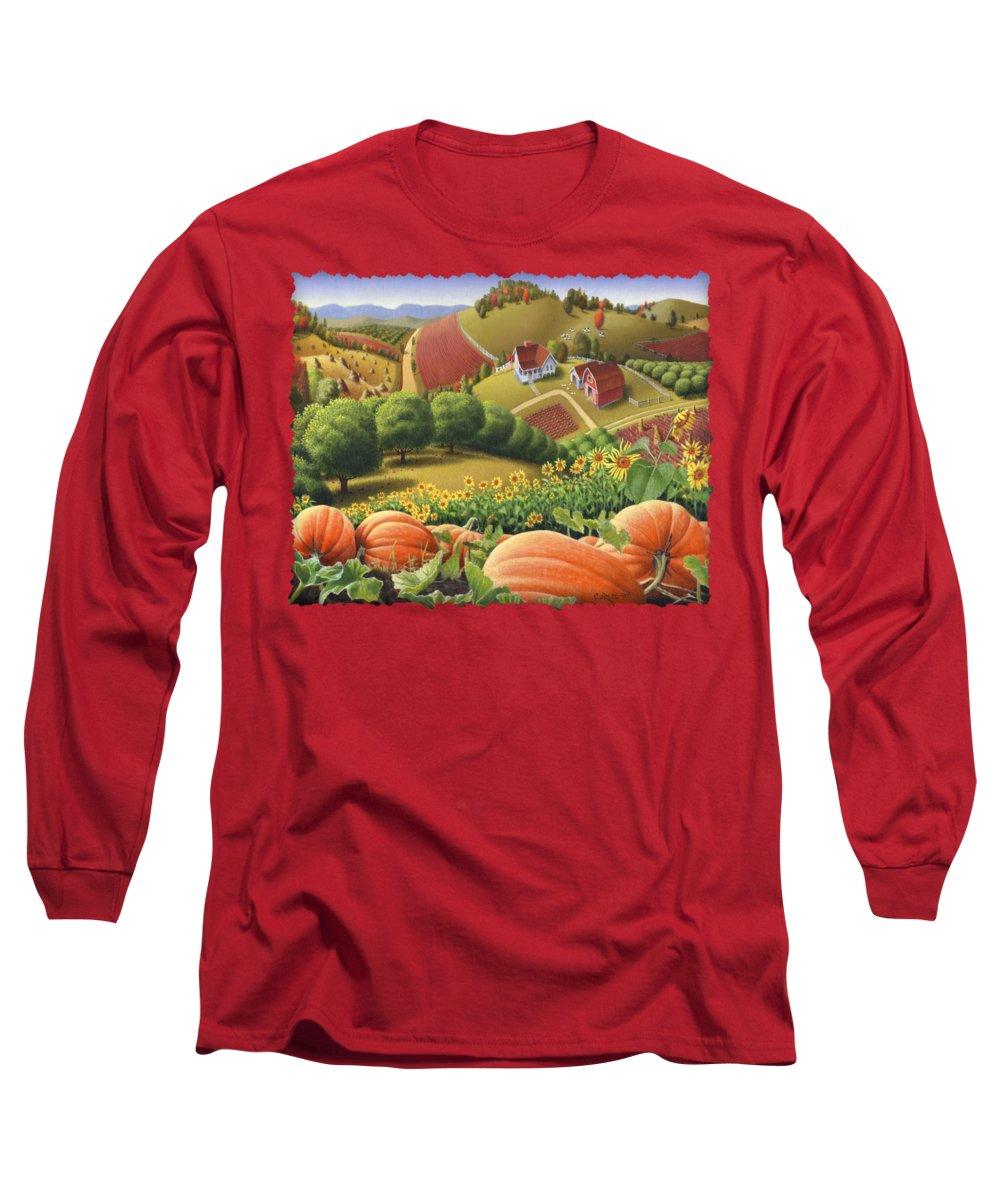 Pumpkin Long Sleeve T-Shirt featuring the painting Farm Landscape - Autumn Rural Country Pumpkins Folk Art - Appalachian Americana - Fall Pumpkin Patch by Walt Curlee