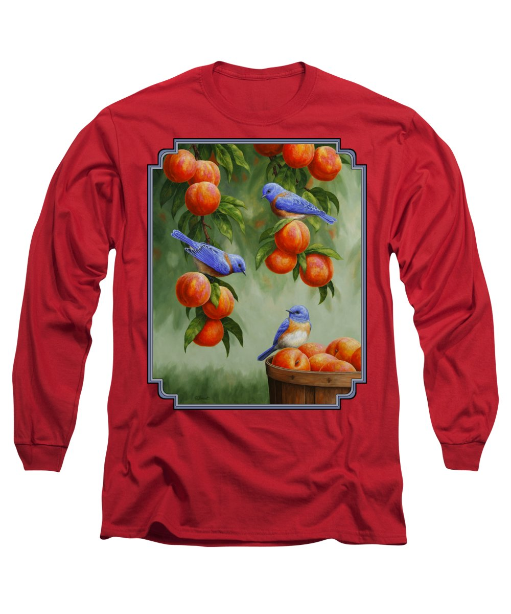 Birds Long Sleeve T-Shirt featuring the painting Bird Painting - Bluebirds And Peaches by Crista Forest