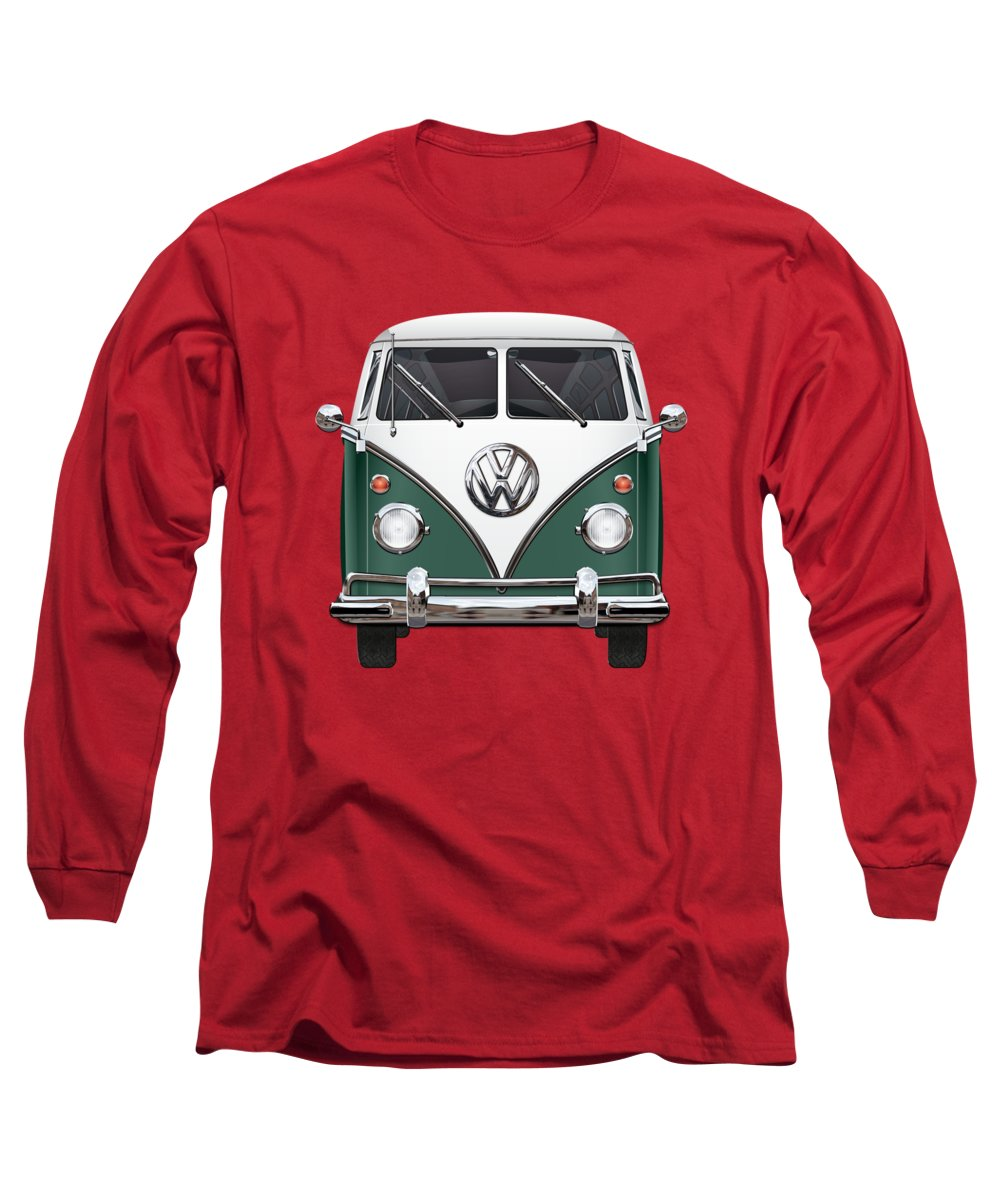 'volkswagen Type 2' Collection By Serge Averbukh Long Sleeve T-Shirt featuring the photograph Volkswagen Type 2 - Green And White Volkswagen T 1 Samba Bus Over Red Canvas by Serge Averbukh