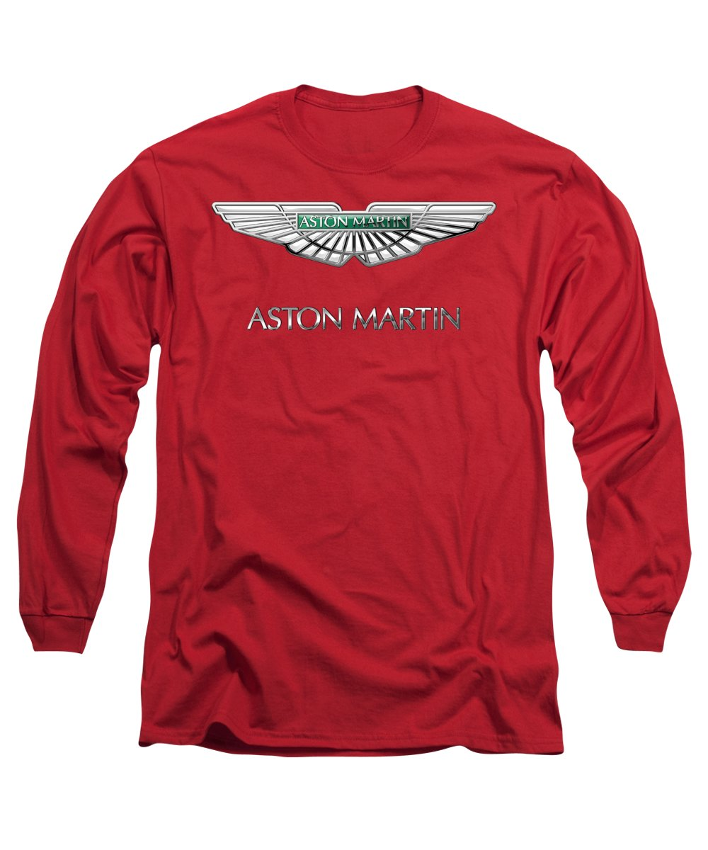 Wheels Of Fortune� Collection By Serge Averbukh Long Sleeve T-Shirt featuring the photograph Aston Martin - 3 D Badge On Red by Serge Averbukh