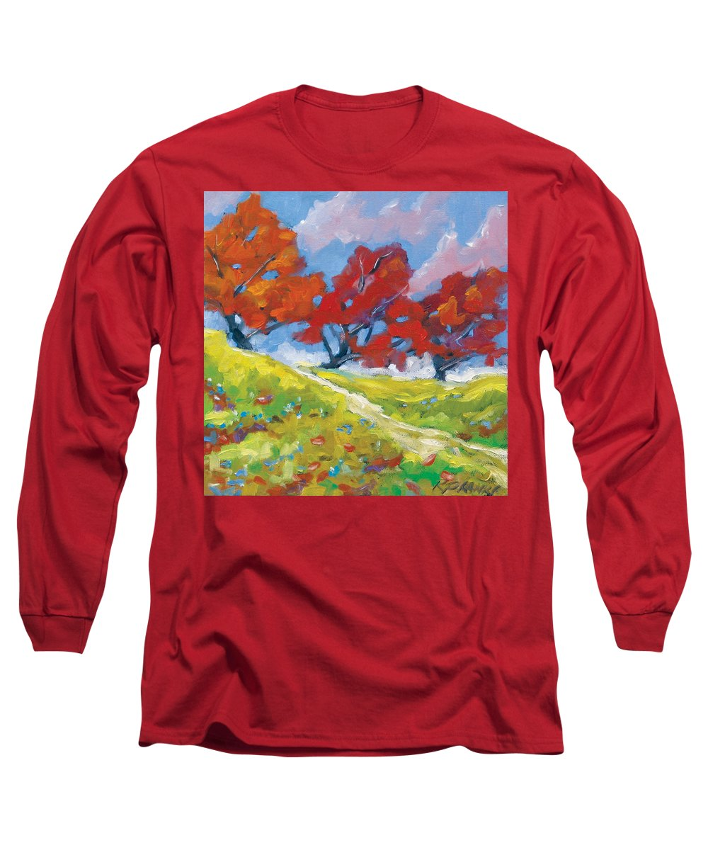 Art Long Sleeve T-Shirt featuring the painting Automn Trees by Richard T Pranke