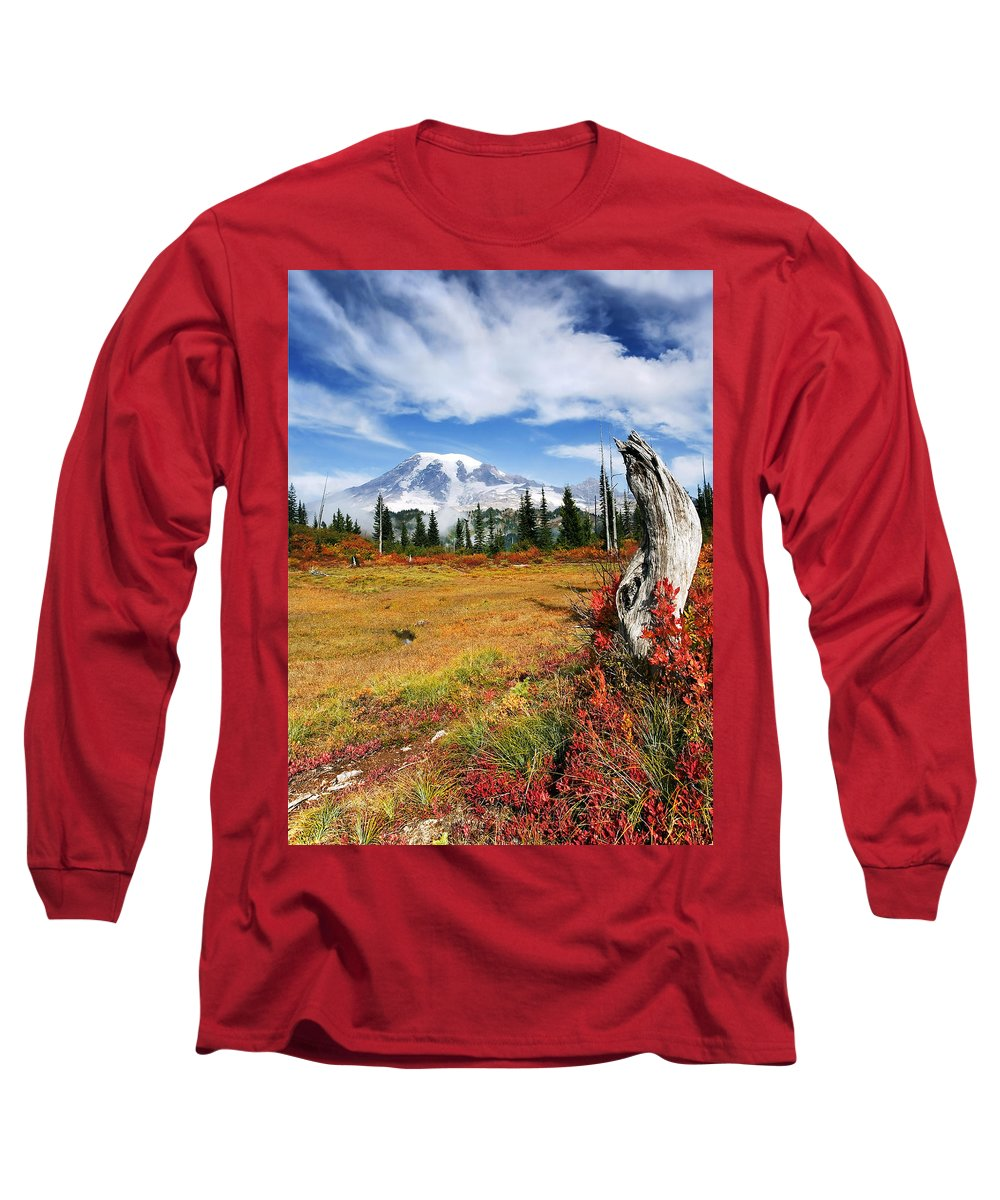 Rainier Long Sleeve T-Shirt featuring the photograph Autumn Majesty by Mike Dawson