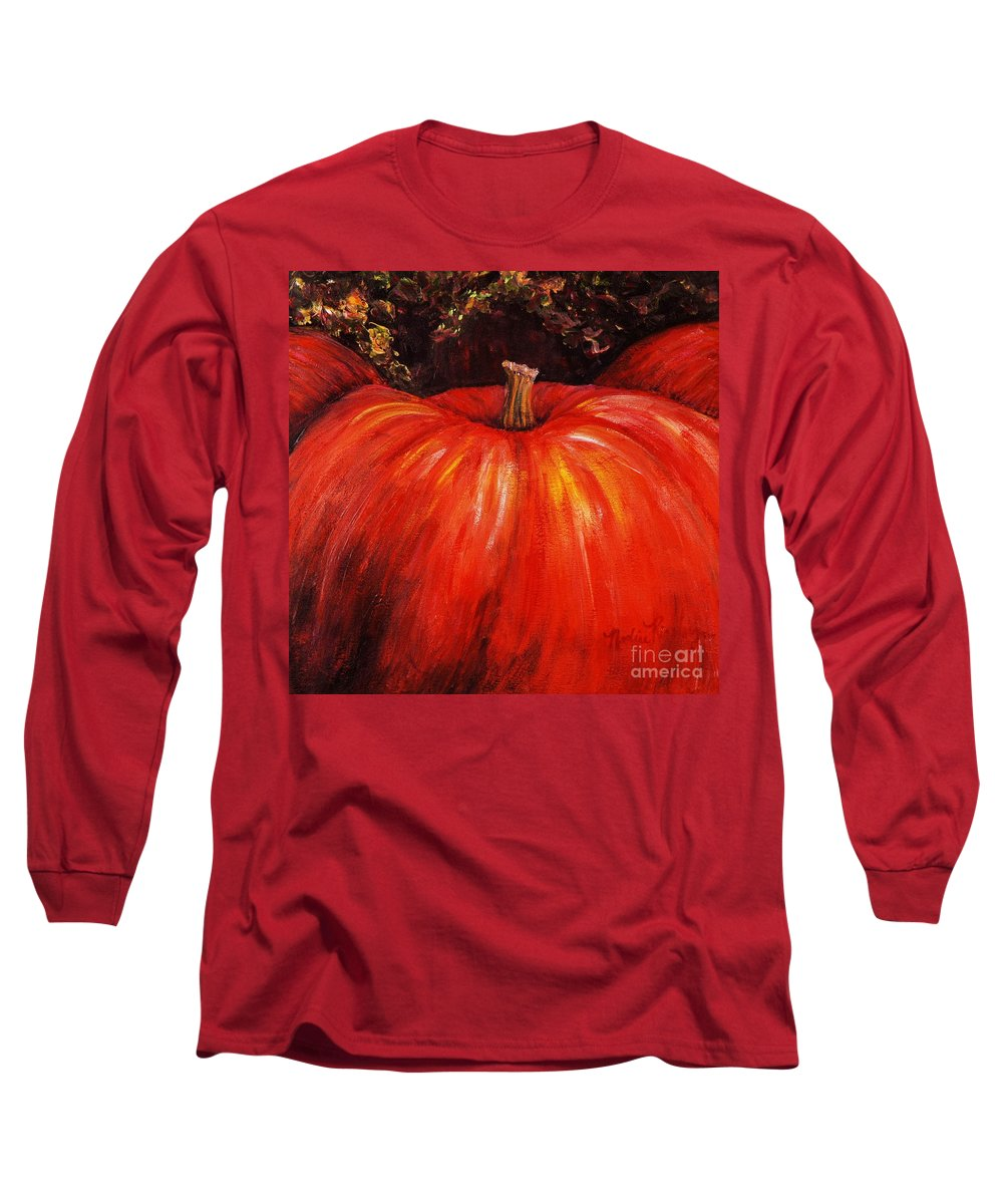 Orange Long Sleeve T-Shirt featuring the painting Autumn Pumpkins by Nadine Rippelmeyer