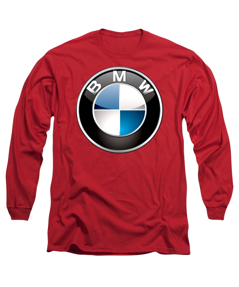 'auto Badges 3d' By Serge Averbukh Long Sleeve T-Shirt featuring the photograph B M W Badge On Red by Serge Averbukh