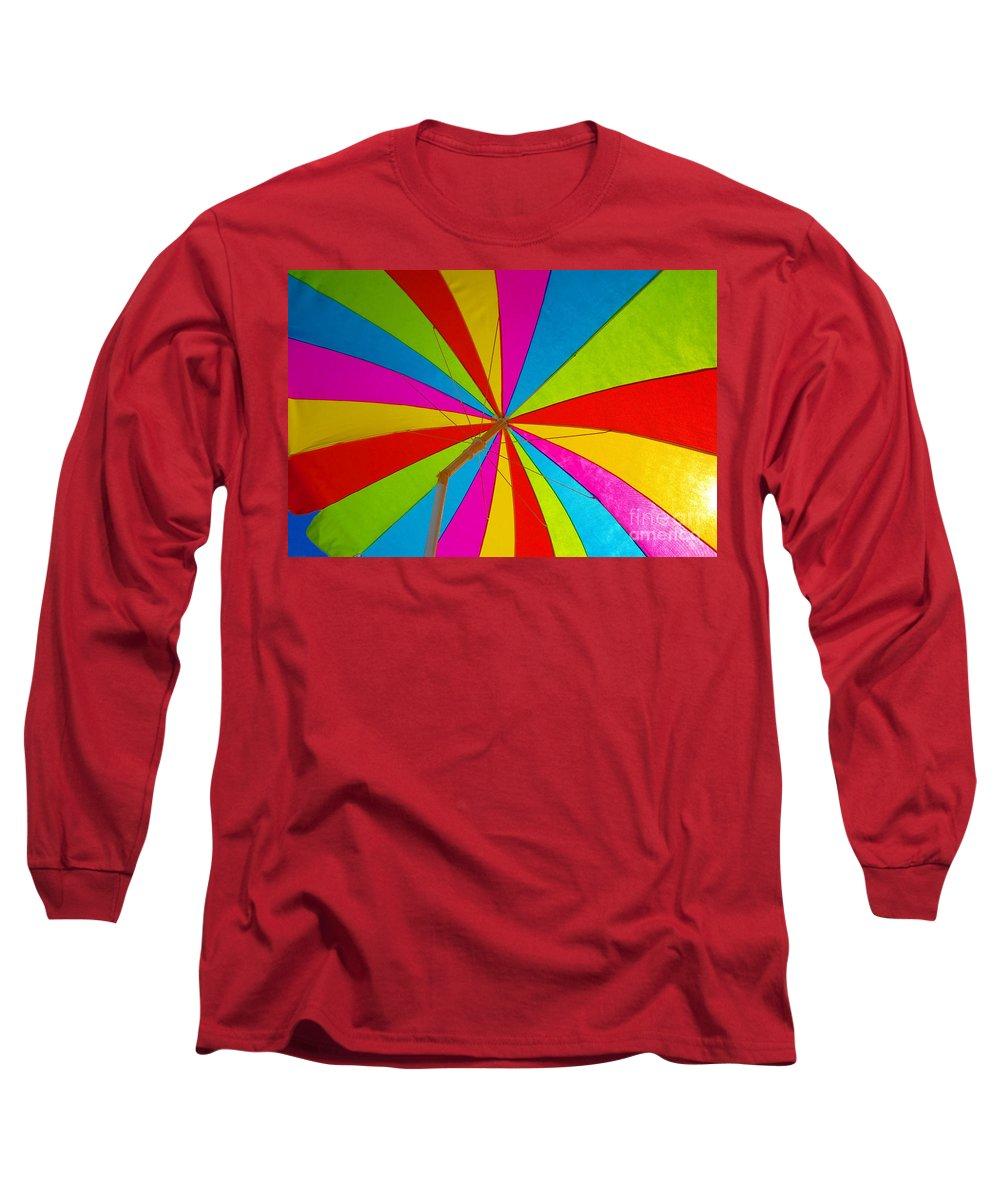 Beach Long Sleeve T-Shirt featuring the photograph Beach Umbrella by David Lee Thompson