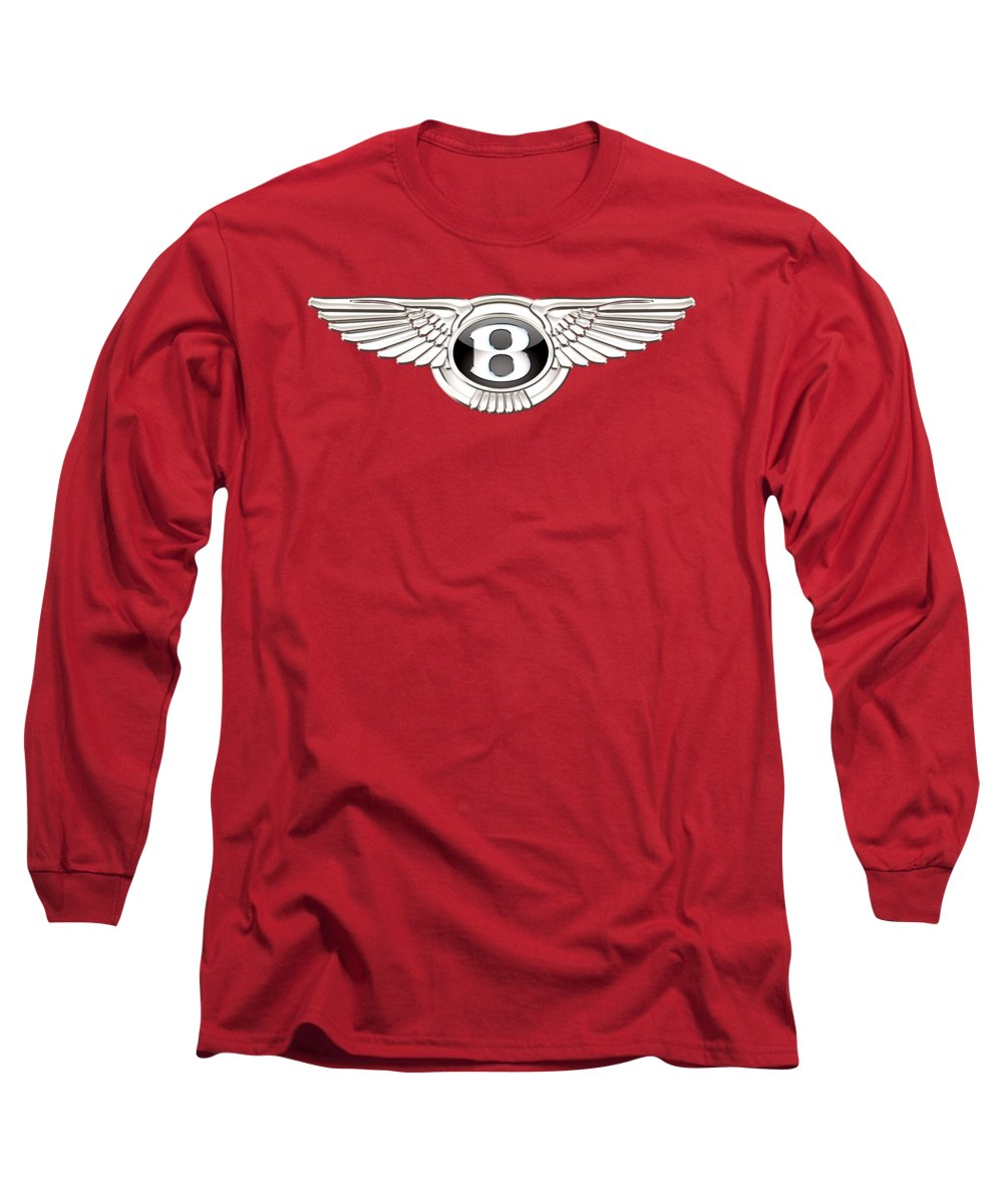 Wheels Of Fortune� Collection By Serge Averbukh Long Sleeve T-Shirt featuring the photograph Bentley 3 D Badge On Red by Serge Averbukh