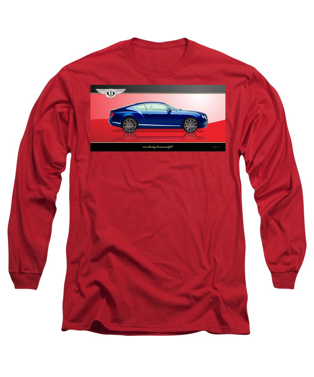 Wheels Of Fortune By Serge Averbukh Long Sleeve T-Shirt featuring the photograph Bentley Continental GT with 3D Badge by Serge Averbukh