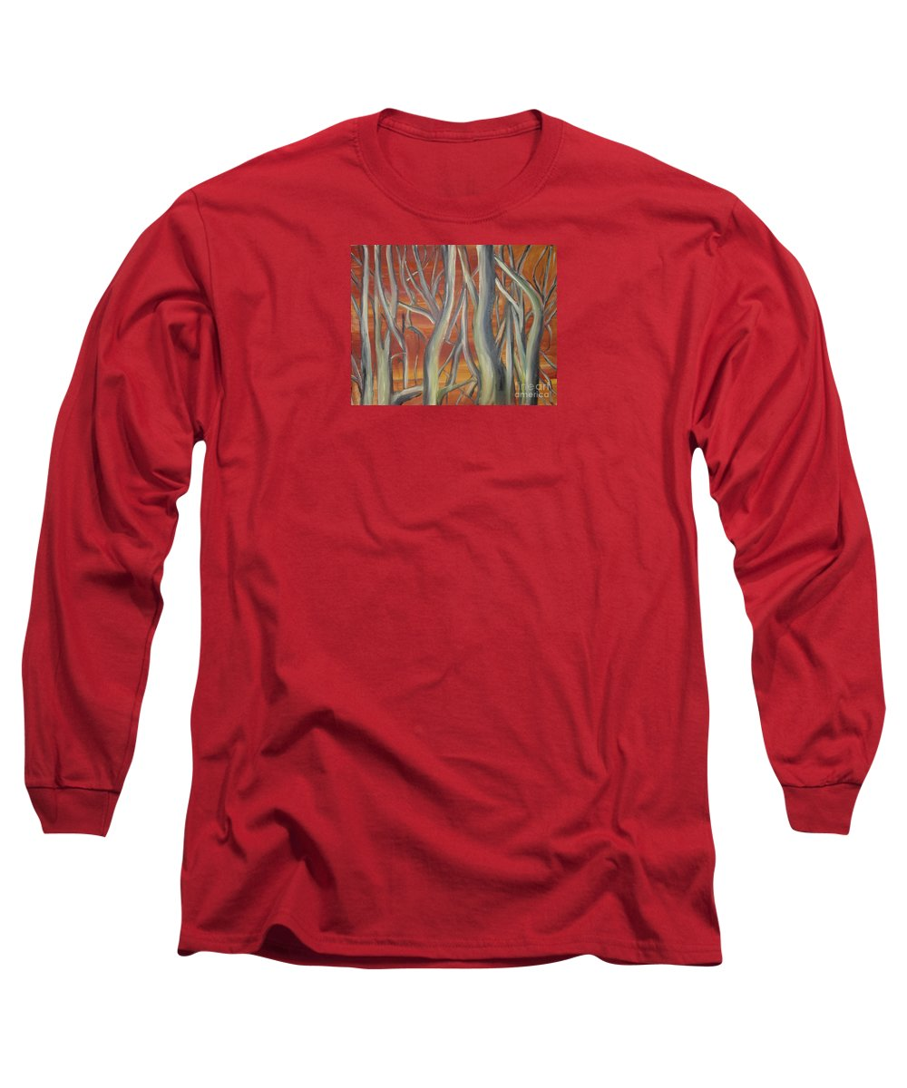 Trees Forest Original Painting Abstract Long Sleeve T-Shirt featuring the painting Beyond by Leila Atkinson