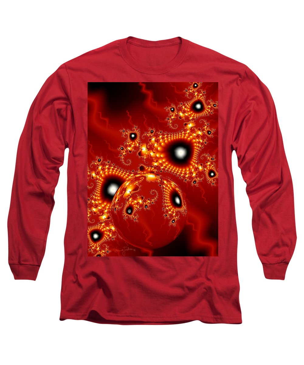 Fractal Passion Love Red Sphere Long Sleeve T-Shirt featuring the digital art Blood In Love by Veronica Jackson